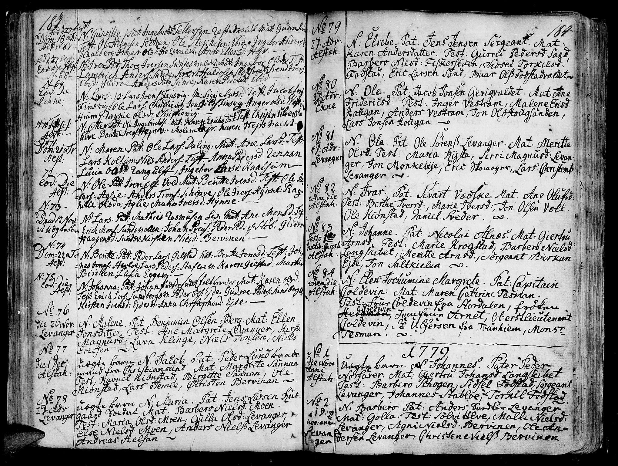 SAT, Ministerialprotokoller, klokkerbøker og fødselsregistre - Nord-Trøndelag, 717/L0141: Ministerialbok nr. 717A01, 1747-1803, s. 183-184