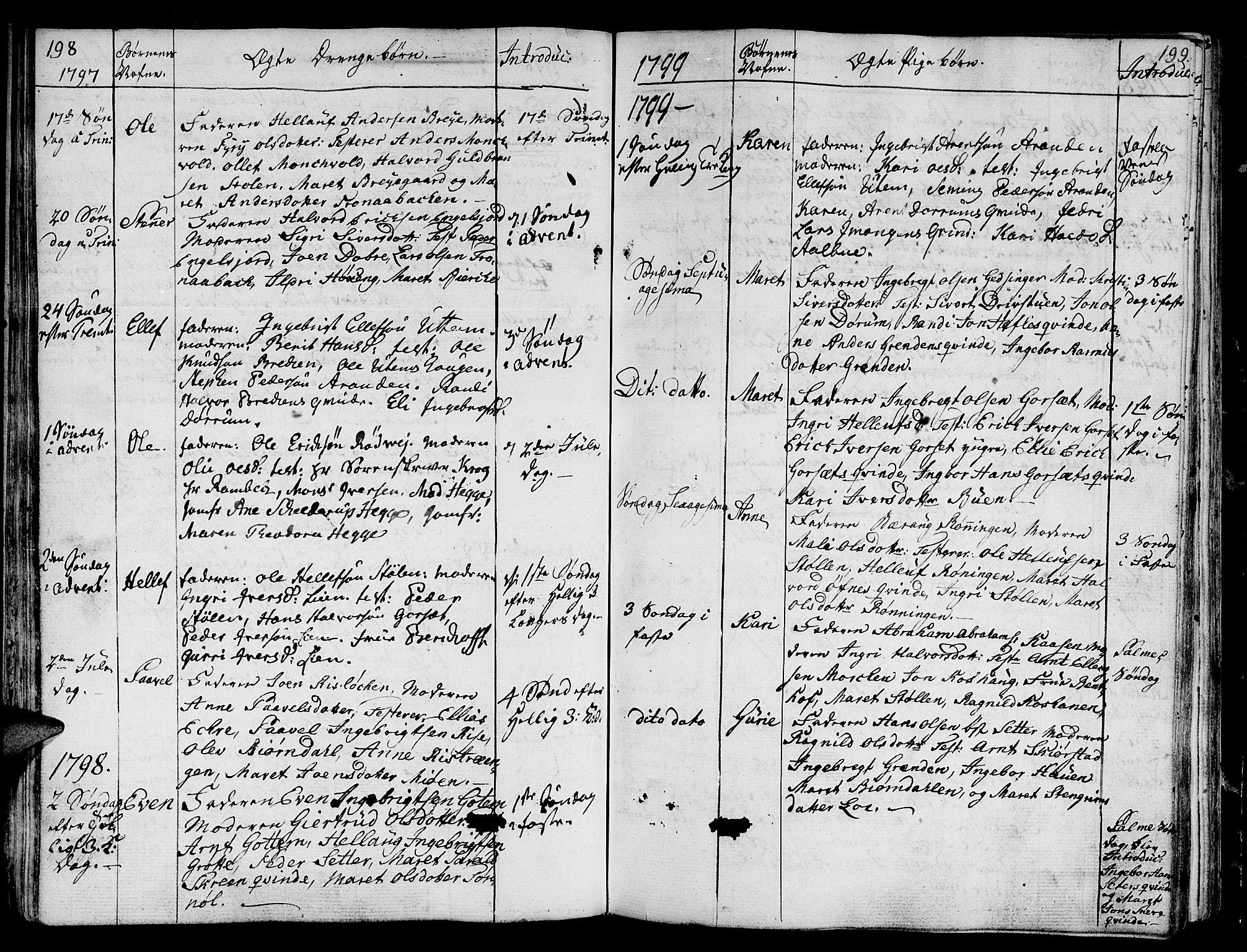 SAT, Ministerialprotokoller, klokkerbøker og fødselsregistre - Sør-Trøndelag, 678/L0893: Ministerialbok nr. 678A03, 1792-1805, s. 198-199