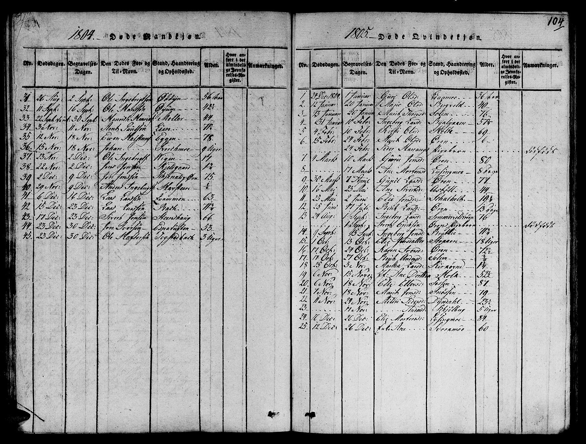 SAT, Ministerialprotokoller, klokkerbøker og fødselsregistre - Sør-Trøndelag, 668/L0803: Ministerialbok nr. 668A03, 1800-1826, s. 104