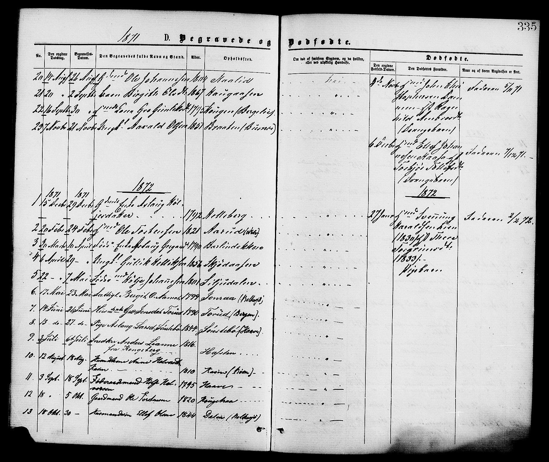 SAKO, Gransherad kirkebøker, F/Fa/L0004: Ministerialbok nr. I 4, 1871-1886, s. 335