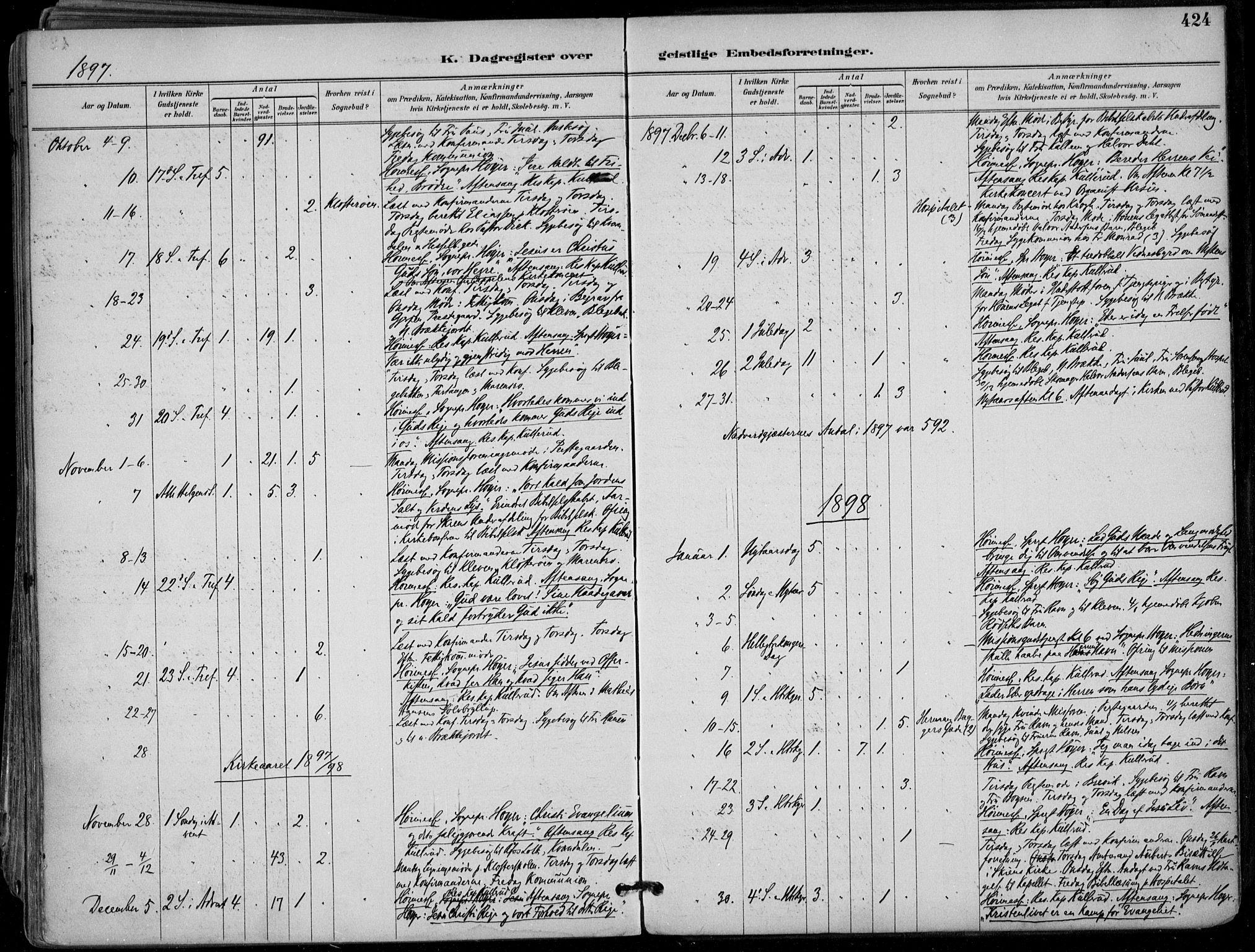 SAKO, Skien kirkebøker, F/Fa/L0010: Ministerialbok nr. 10, 1891-1899, s. 424