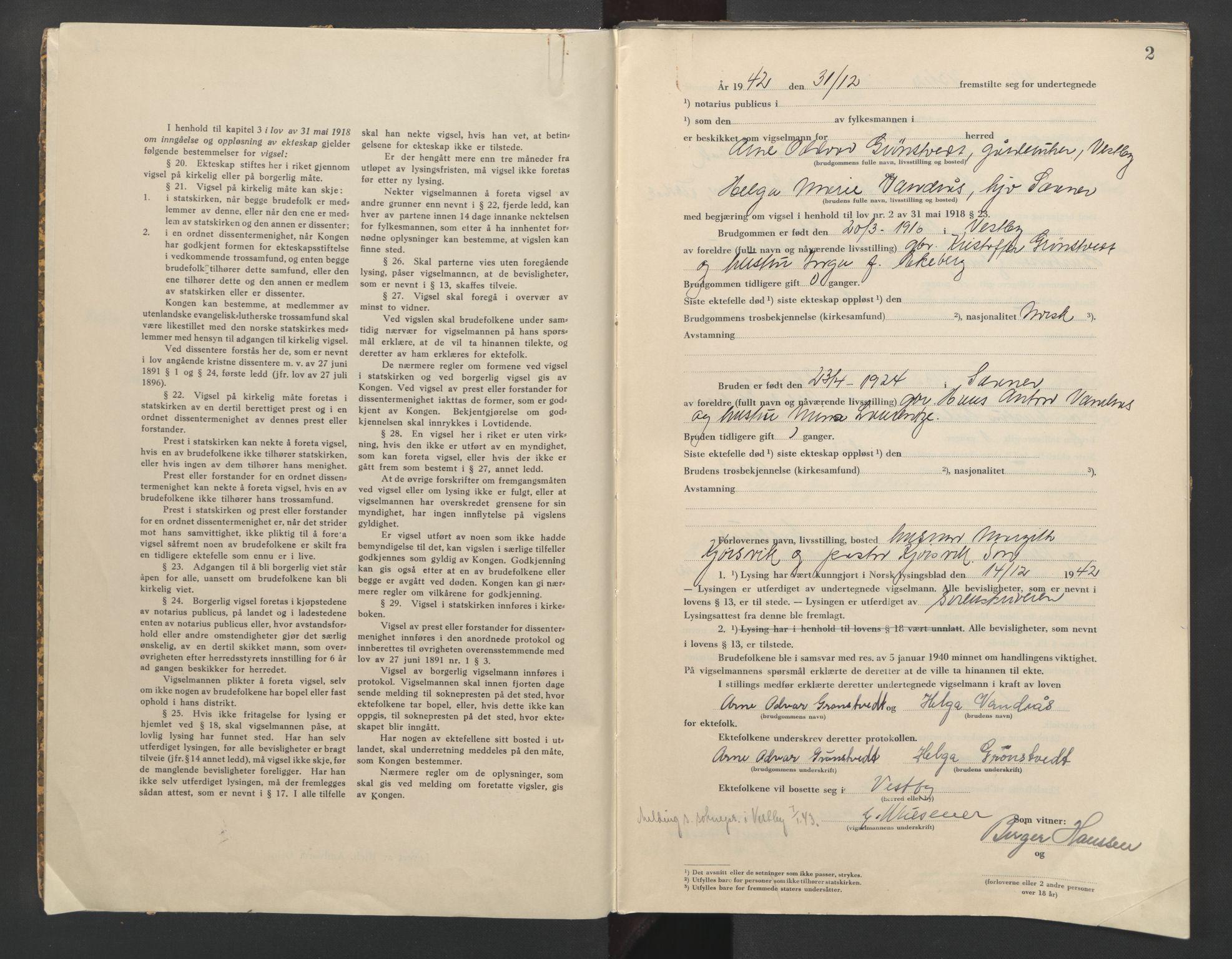 SAO, Follo sorenskriveri, L/La/Lab/L0002: Vigselsbok, 1942-1946, s. 2