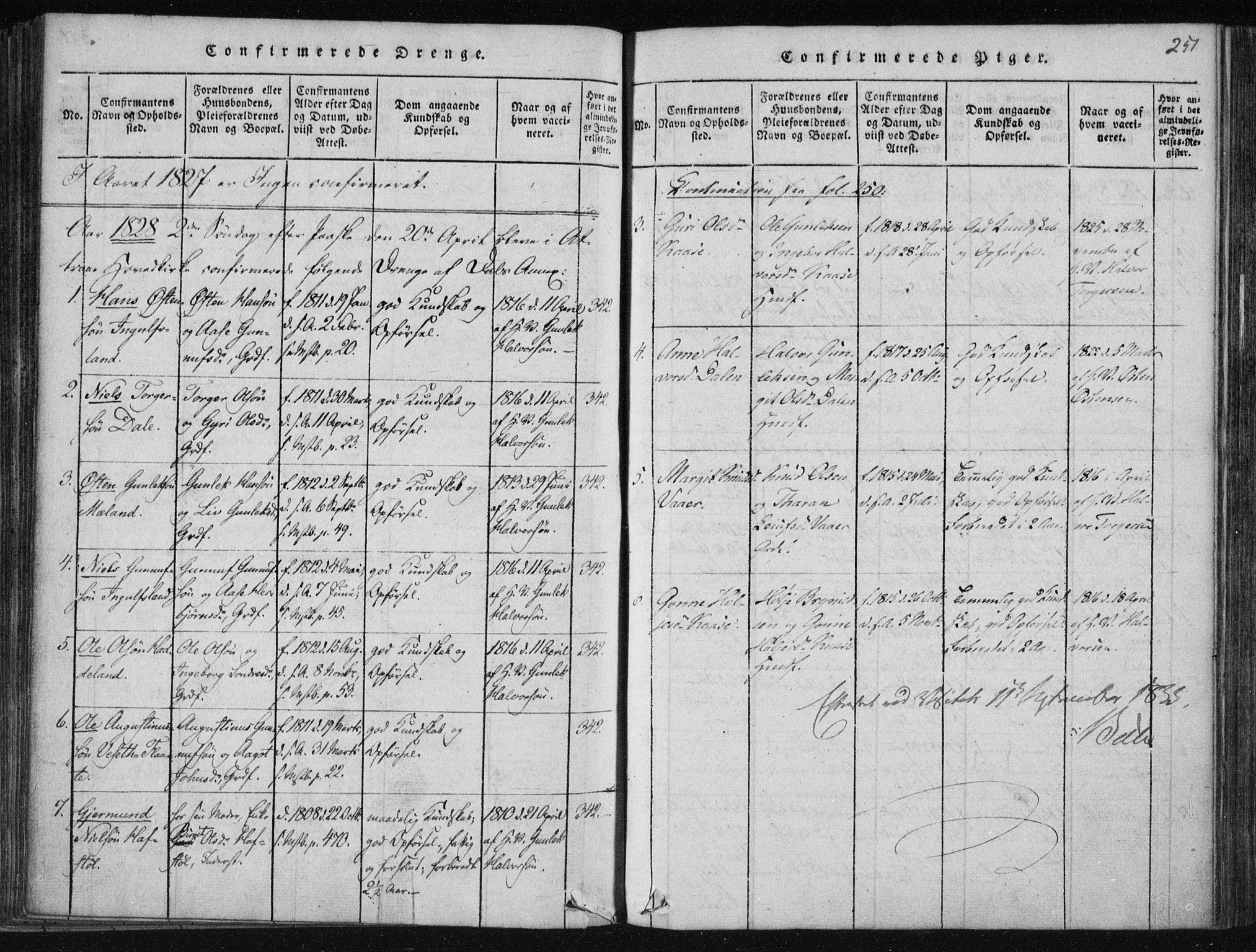 SAKO, Tinn kirkebøker, F/Fc/L0001: Ministerialbok nr. III 1, 1815-1843, s. 251