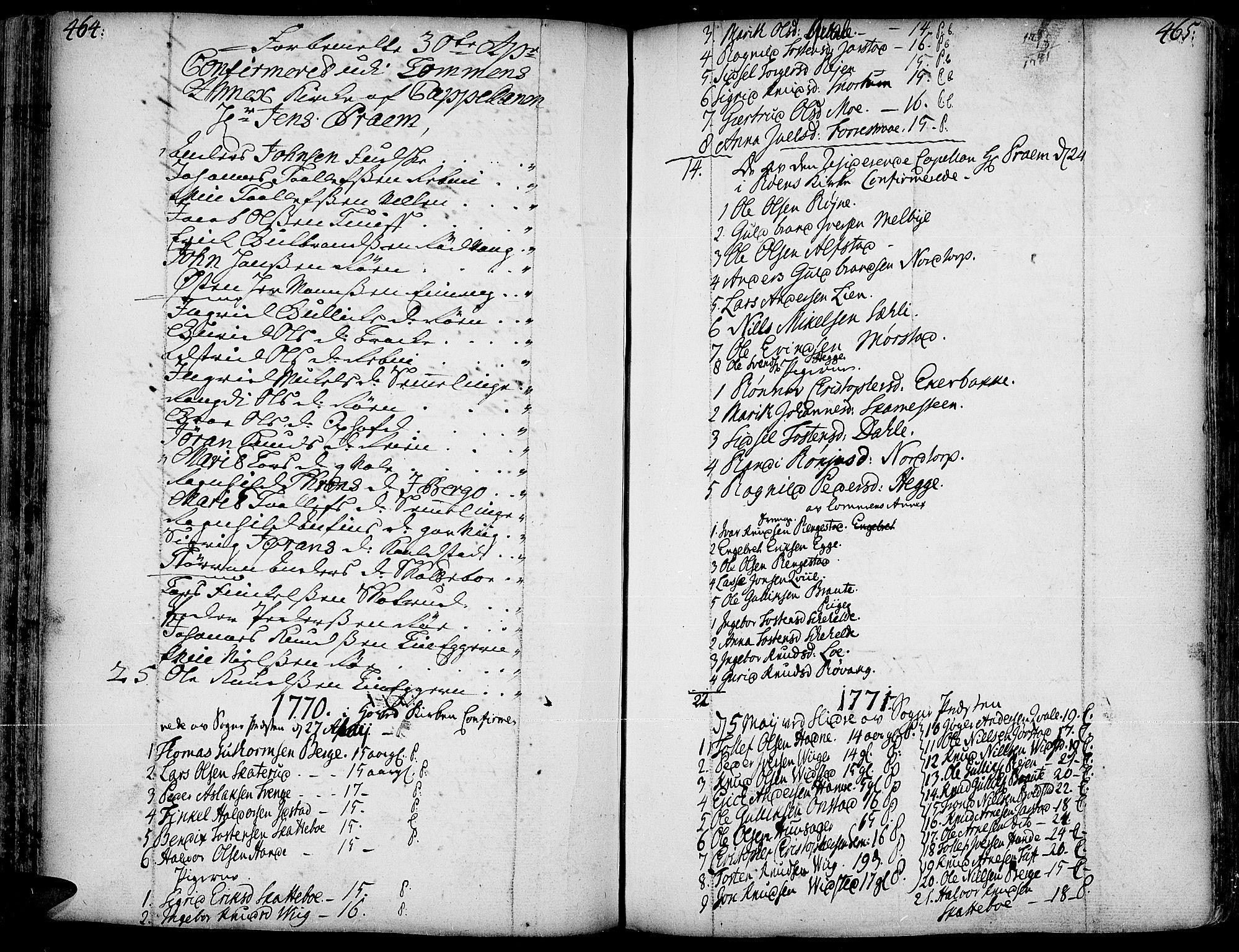 SAH, Slidre prestekontor, Ministerialbok nr. 1, 1724-1814, s. 464-465
