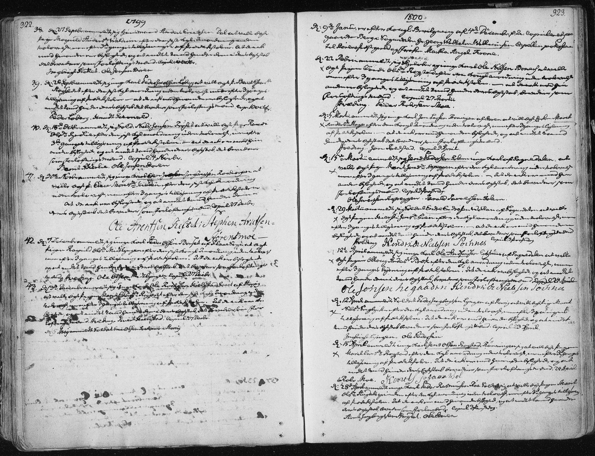 SAT, Ministerialprotokoller, klokkerbøker og fødselsregistre - Sør-Trøndelag, 687/L0992: Ministerialbok nr. 687A03 /1, 1788-1815, s. 322-323