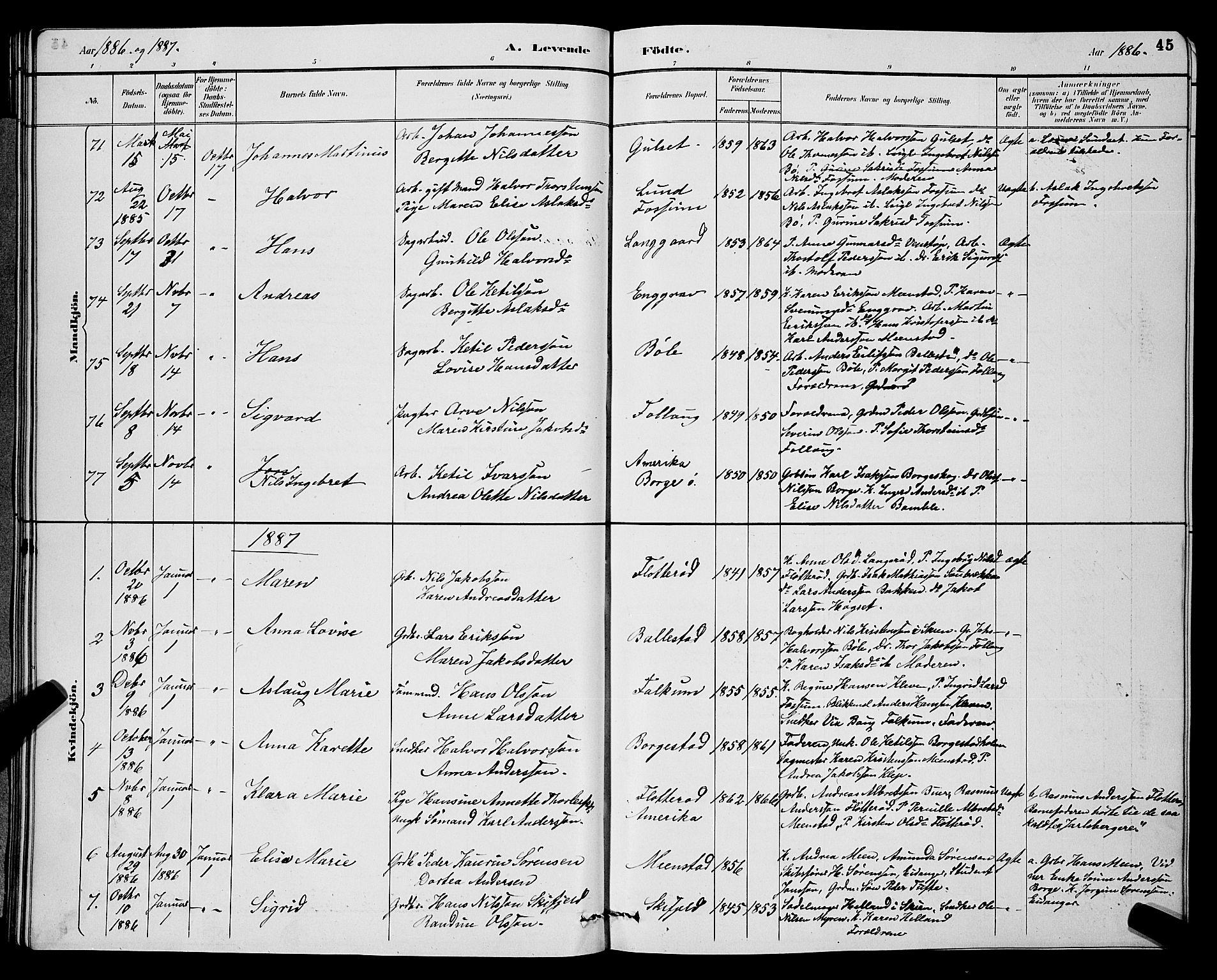 SAKO, Gjerpen kirkebøker, G/Ga/L0002: Klokkerbok nr. I 2, 1883-1900, s. 45