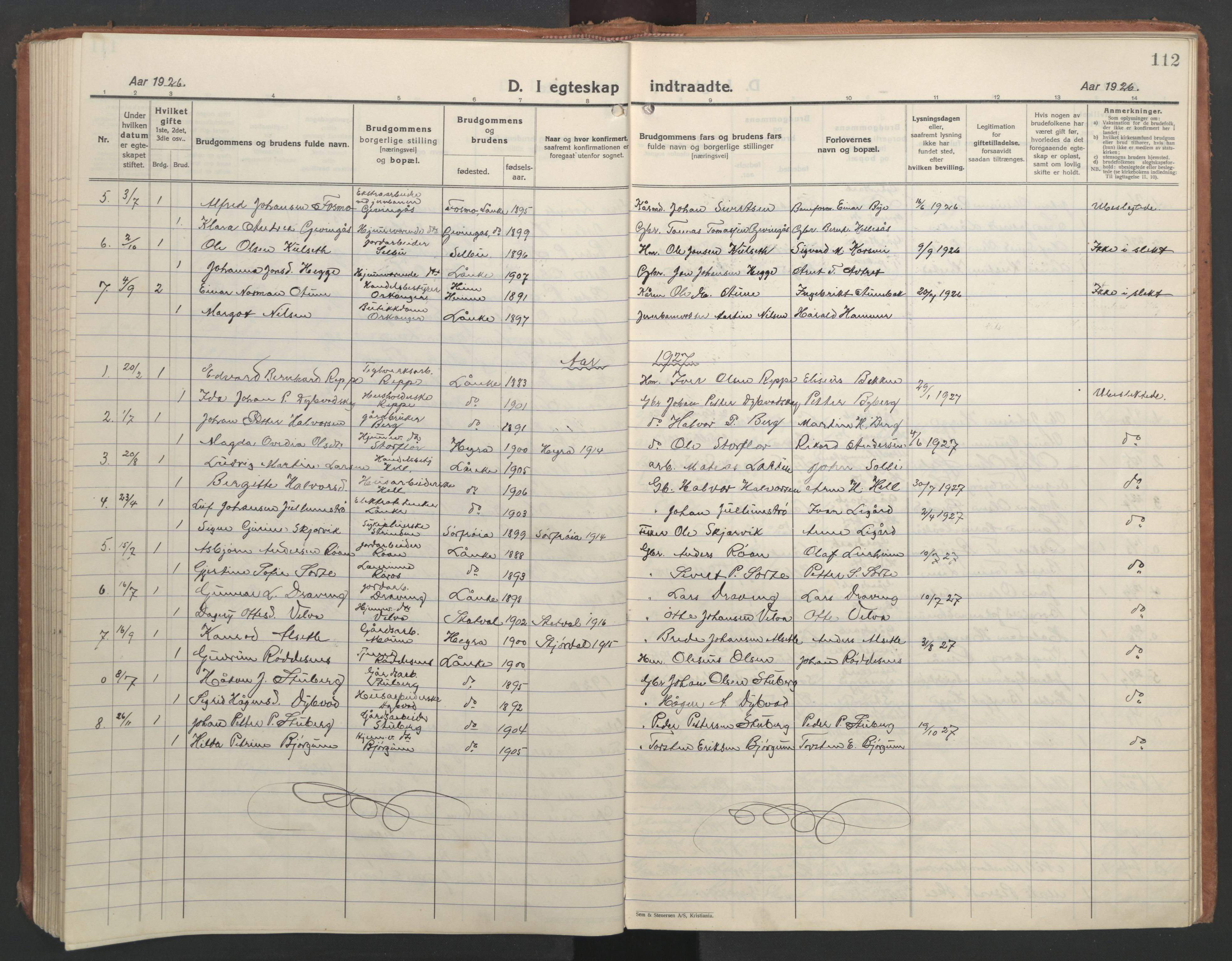 SAT, Ministerialprotokoller, klokkerbøker og fødselsregistre - Nord-Trøndelag, 710/L0097: Klokkerbok nr. 710C02, 1925-1955, s. 112