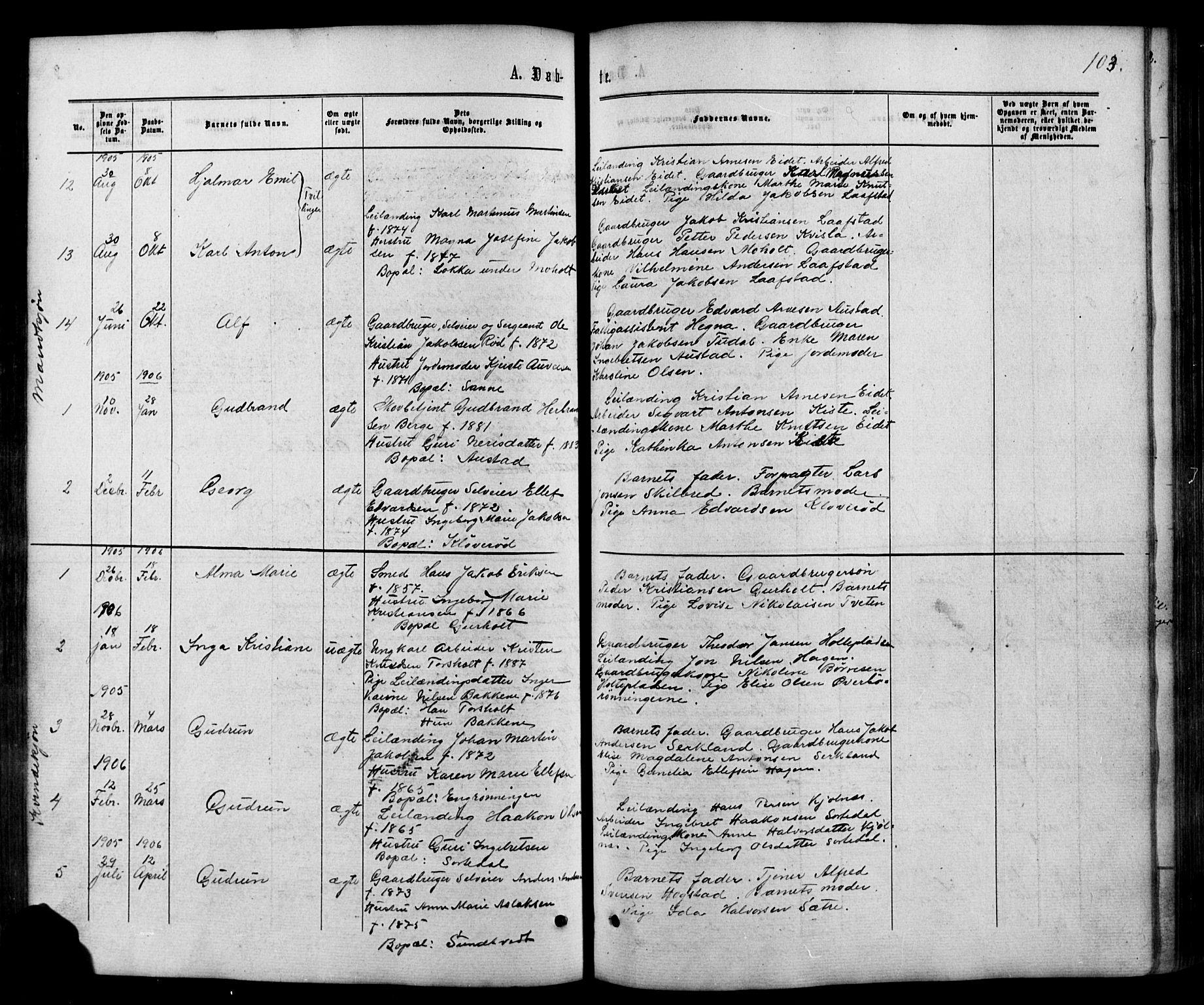 SAKO, Siljan kirkebøker, G/Ga/L0002: Klokkerbok nr. 2, 1864-1908, s. 103