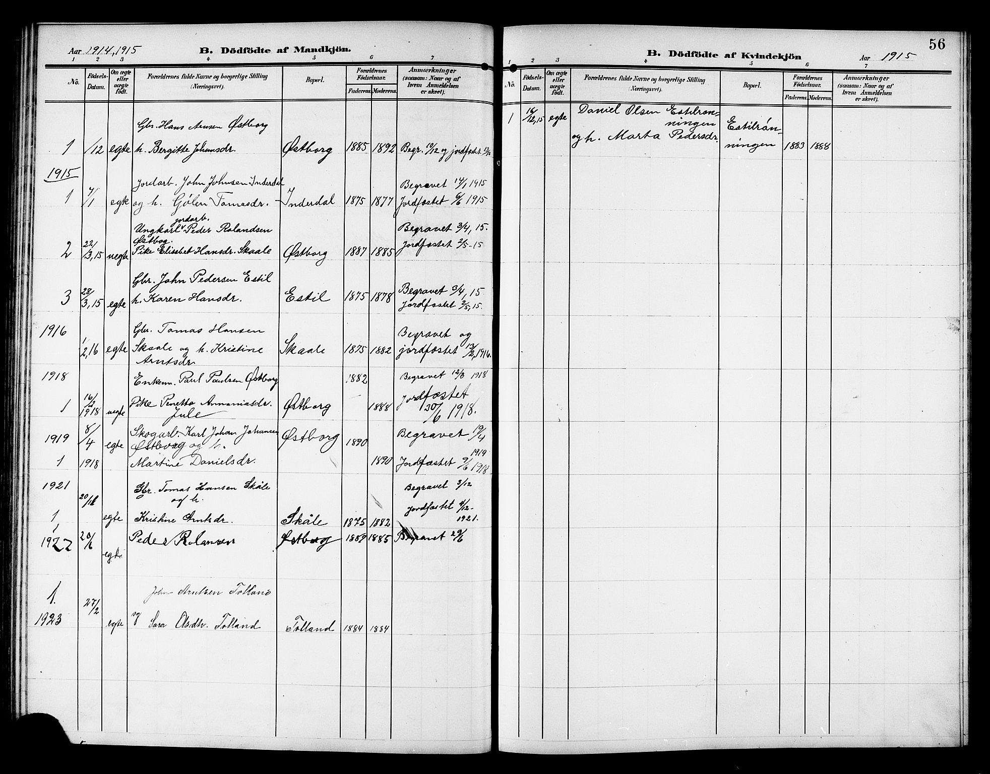 SAT, Ministerialprotokoller, klokkerbøker og fødselsregistre - Nord-Trøndelag, 757/L0506: Klokkerbok nr. 757C01, 1904-1922, s. 56