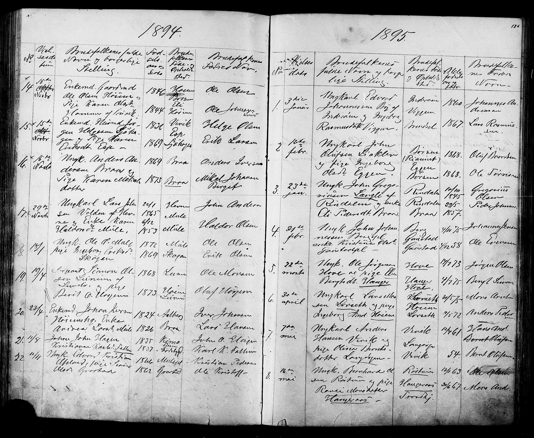 SAT, Ministerialprotokoller, klokkerbøker og fødselsregistre - Sør-Trøndelag, 612/L0387: Klokkerbok nr. 612C03, 1874-1908, s. 186
