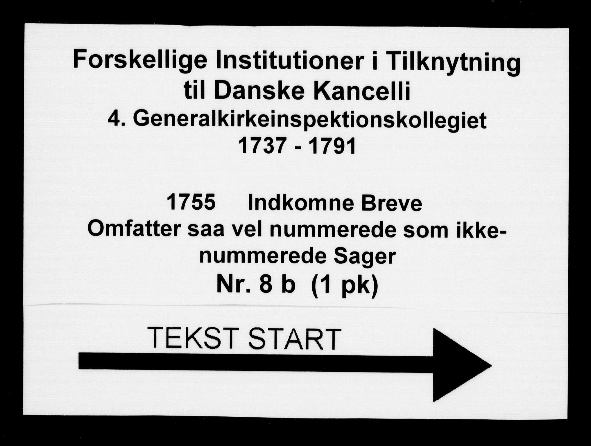 DRA, Generalkirkeinspektionskollegiet, F4-08/F4-08-02: Indkomne sager, 1755