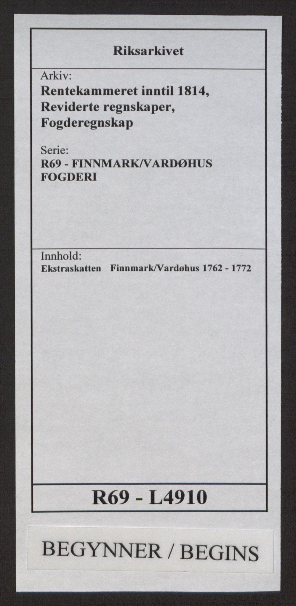 RA, Rentekammeret inntil 1814, Reviderte regnskaper, Fogderegnskap, R69/L4910: Ekstraskatten  Finnmark/Vardøhus, 1762-1772, s. 1