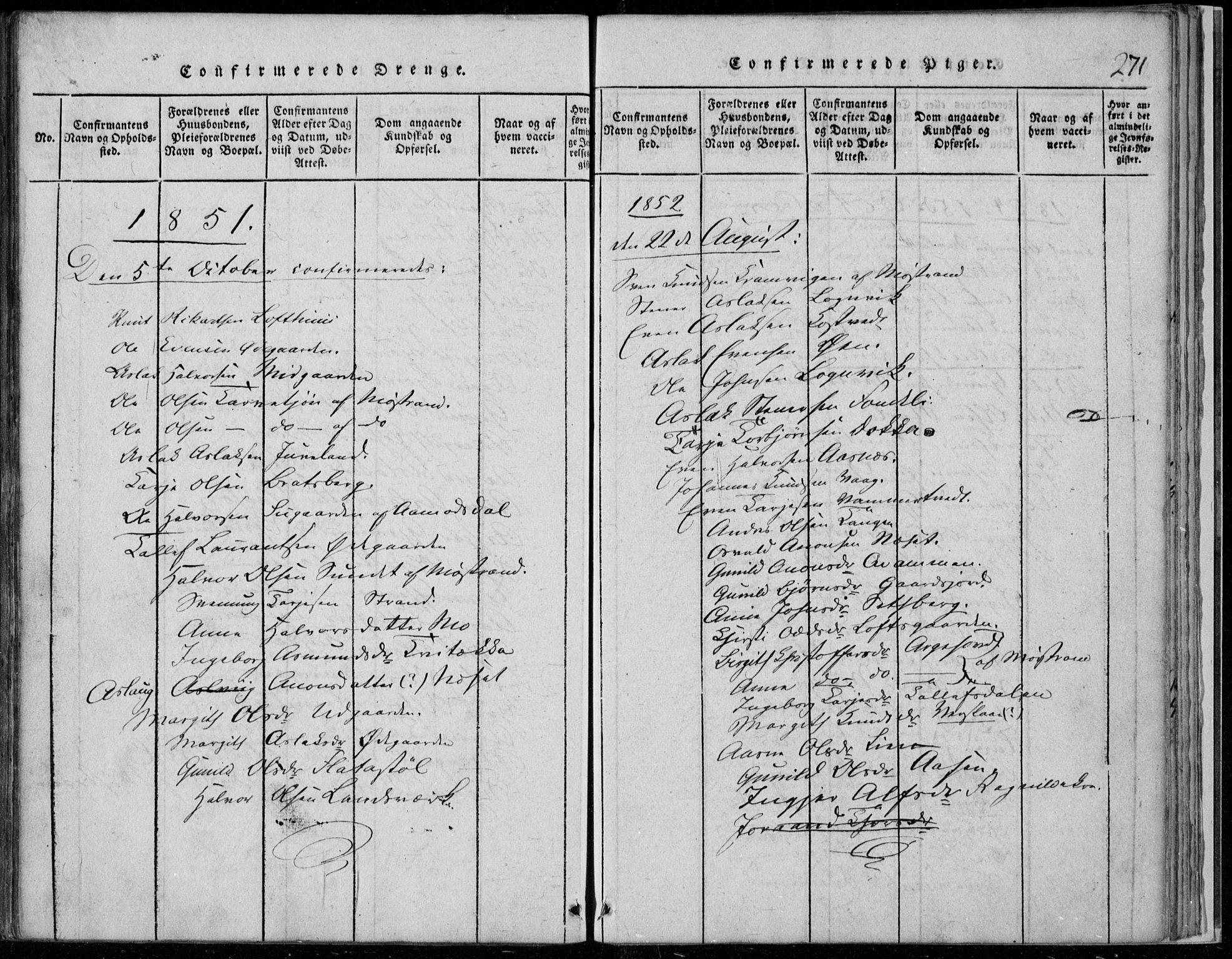 SAKO, Rauland kirkebøker, F/Fa/L0001: Ministerialbok nr. 1, 1814-1859, s. 271