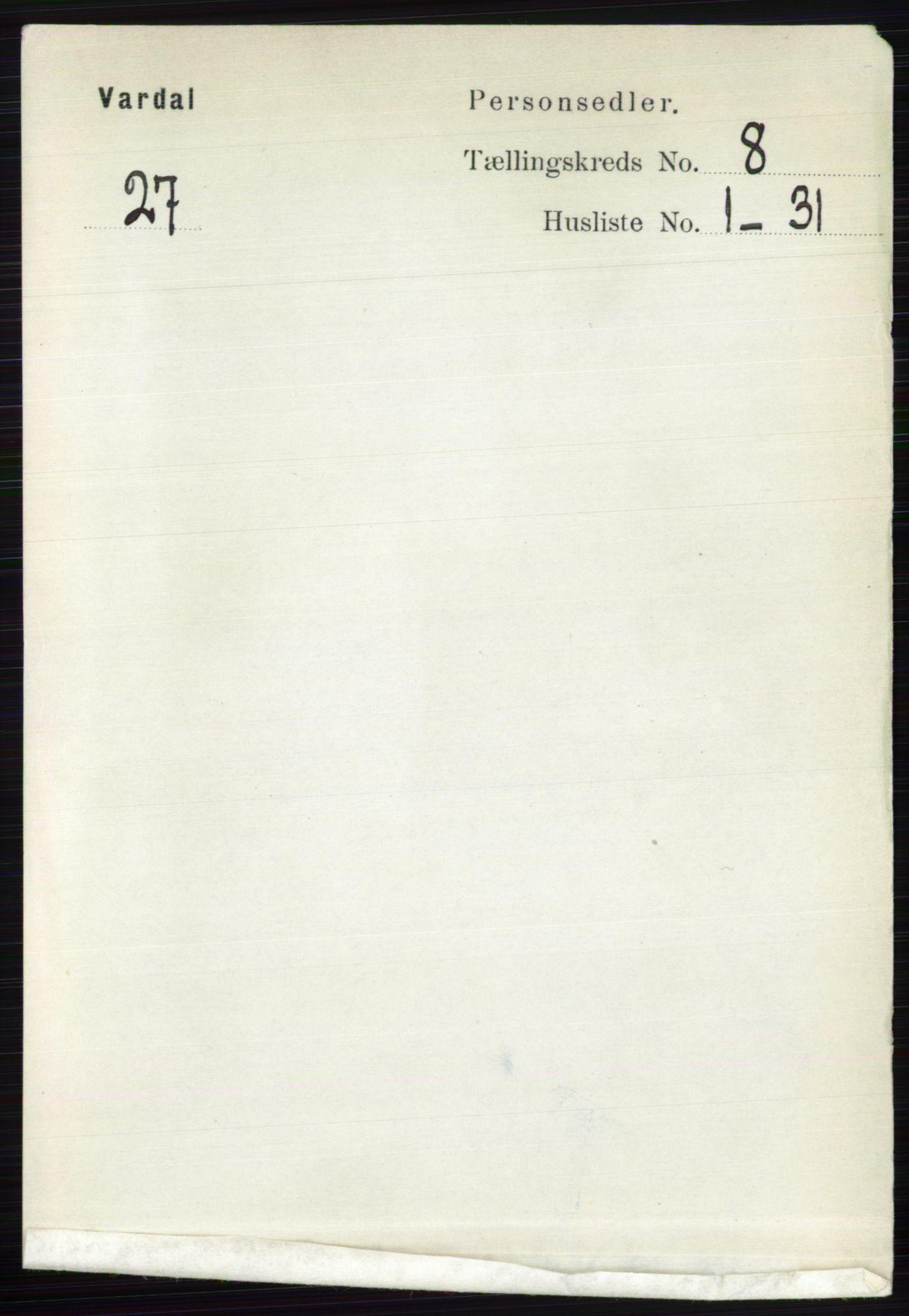 RA, Folketelling 1891 for 0527 Vardal herred, 1891, s. 3689