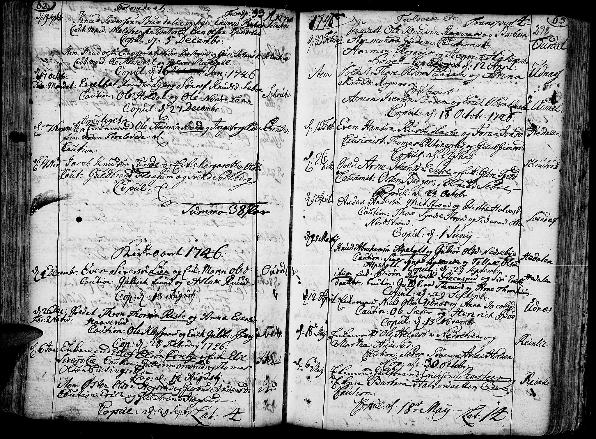 SAH, Aurdal prestekontor, Ministerialbok nr. 4, 1730-1762, s. 62-63