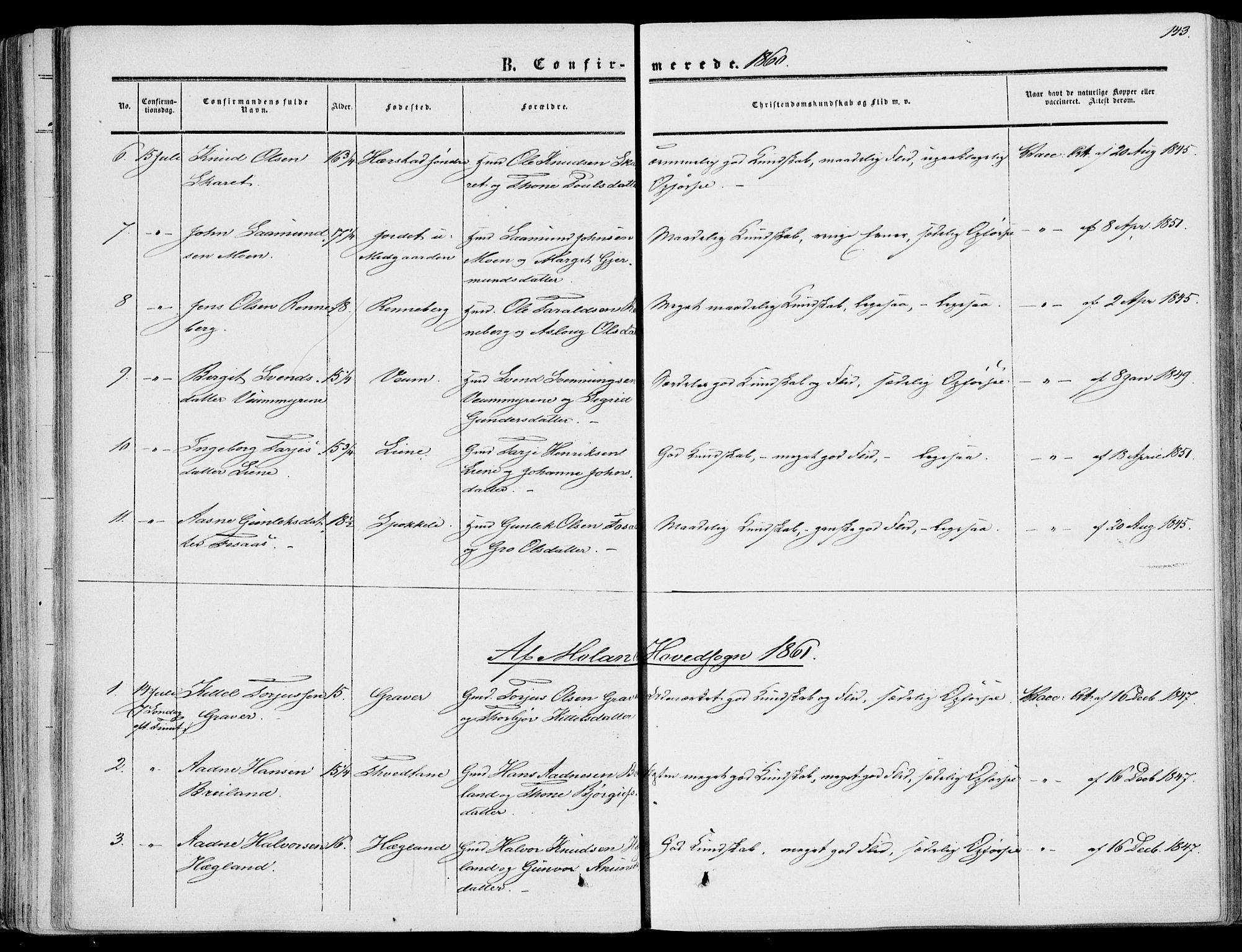 SAKO, Fyresdal kirkebøker, F/Fa/L0005: Ministerialbok nr. I 5, 1855-1871, s. 143