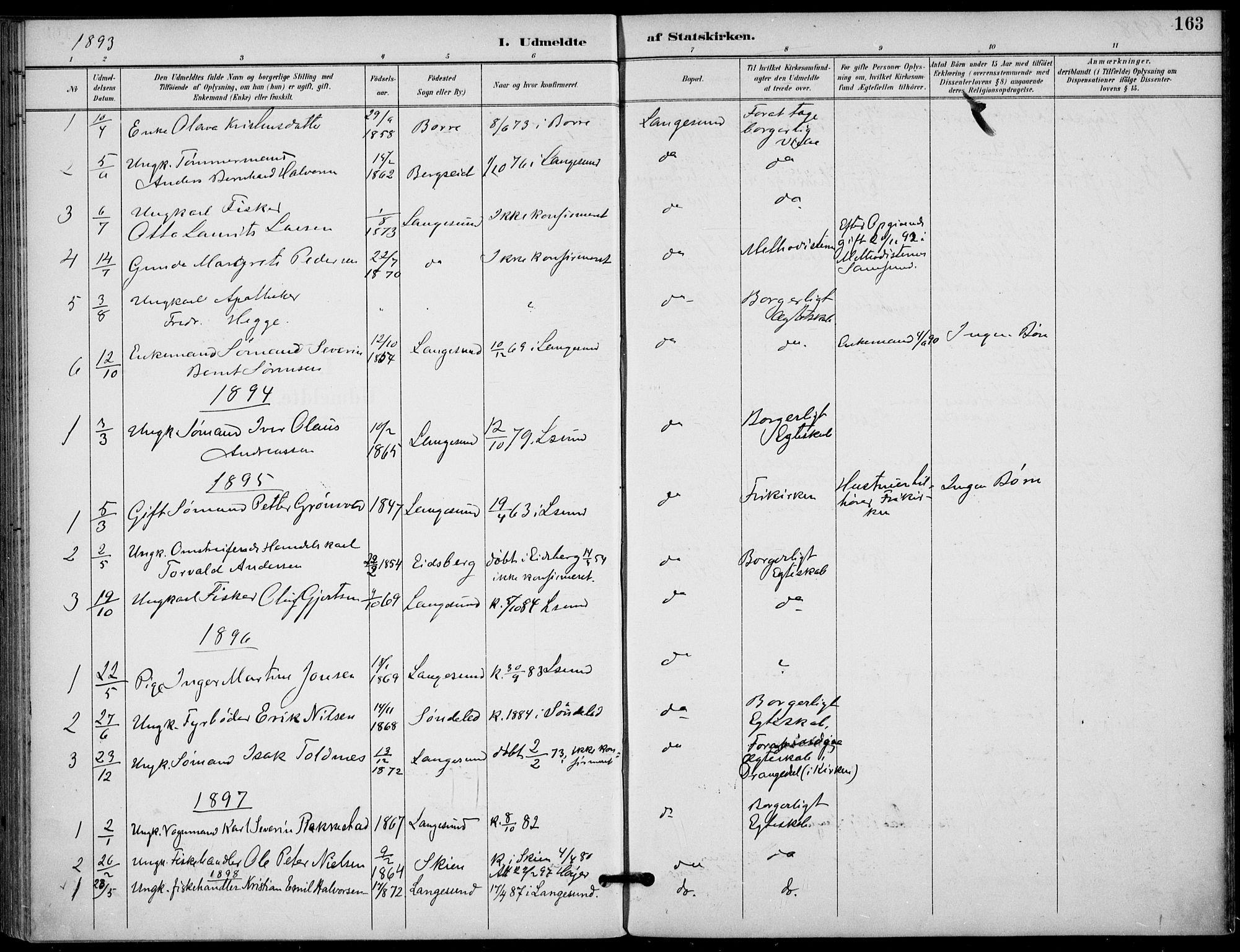 SAKO, Langesund kirkebøker, F/Fa/L0003: Ministerialbok nr. 3, 1893-1907, s. 163
