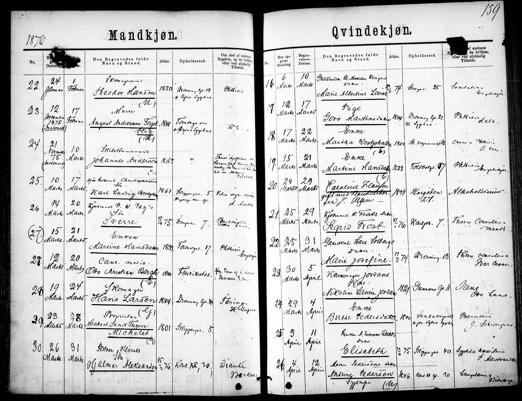 SAO, Oslo domkirke Kirkebøker, F/Fa/L0026: Ministerialbok nr. 26, 1867-1884, s. 159
