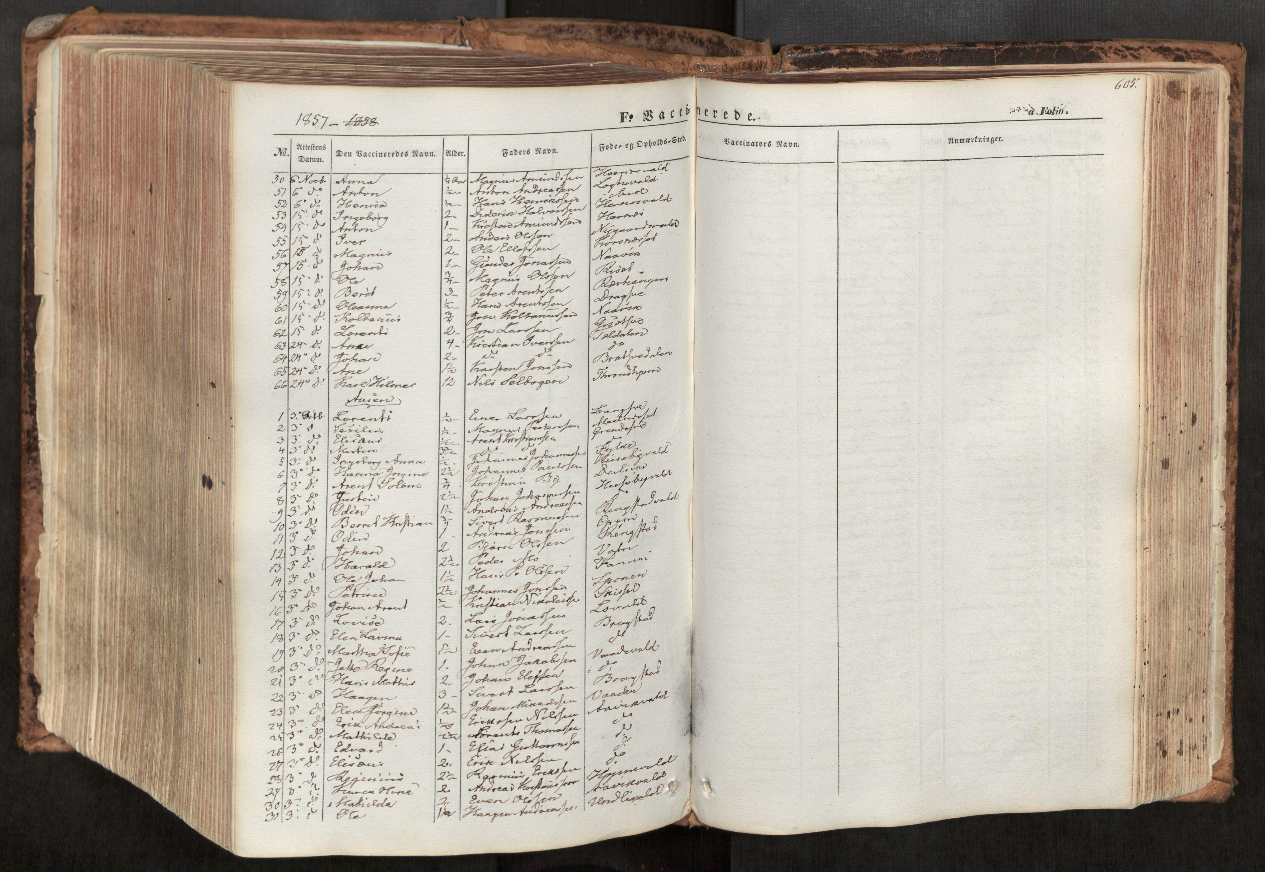 SAT, Ministerialprotokoller, klokkerbøker og fødselsregistre - Nord-Trøndelag, 713/L0116: Ministerialbok nr. 713A07, 1850-1877, s. 605