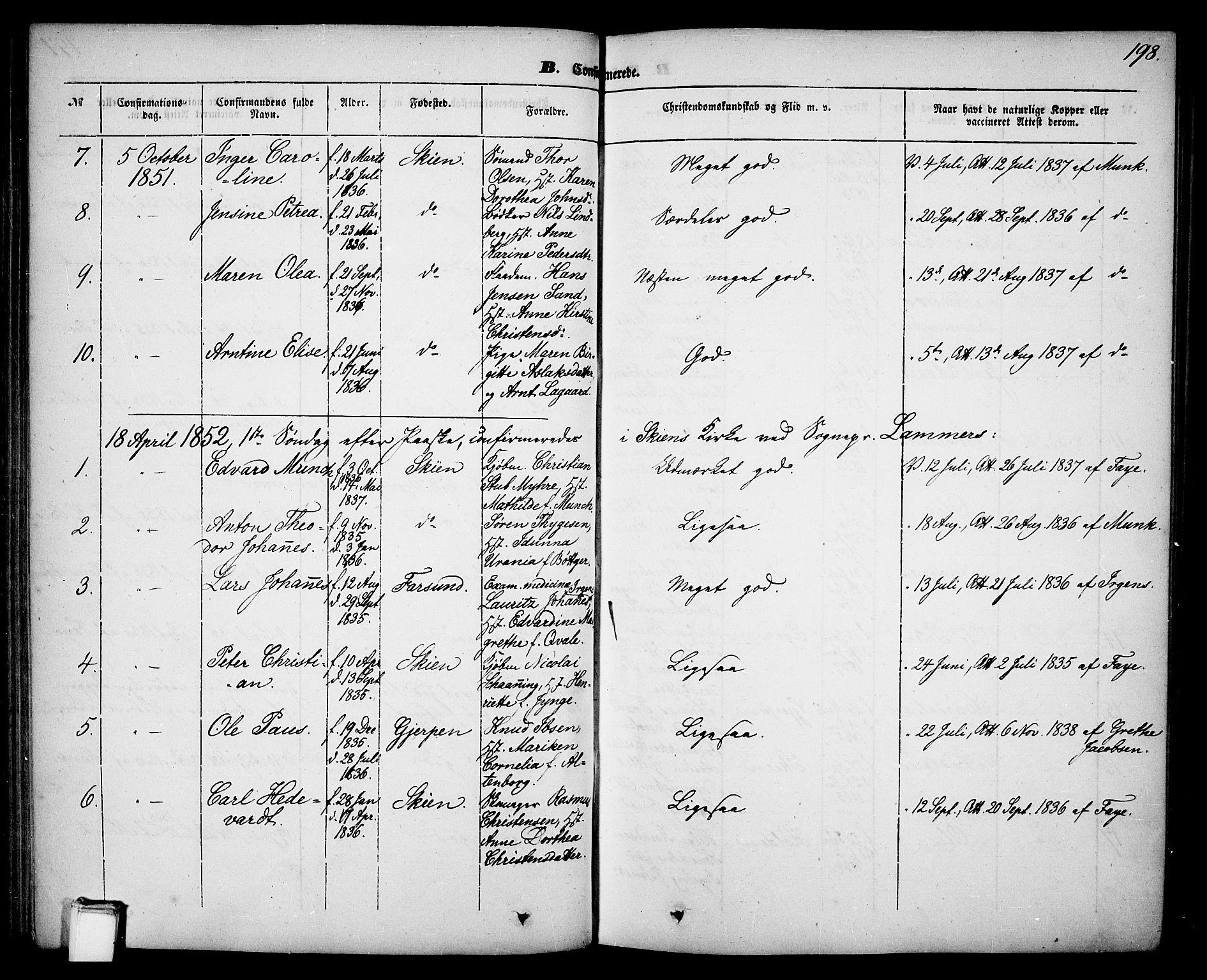 SAKO, Skien kirkebøker, G/Ga/L0004: Klokkerbok nr. 4, 1843-1867, s. 198