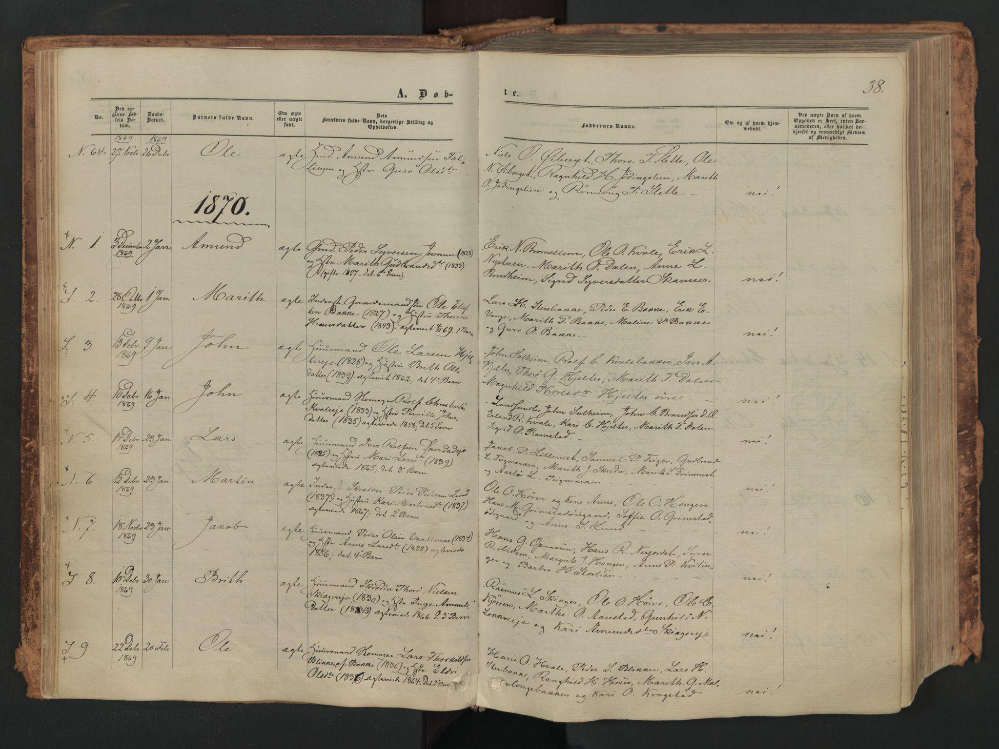SAH, Skjåk prestekontor, Ministerialbok nr. 1, 1863-1879, s. 38