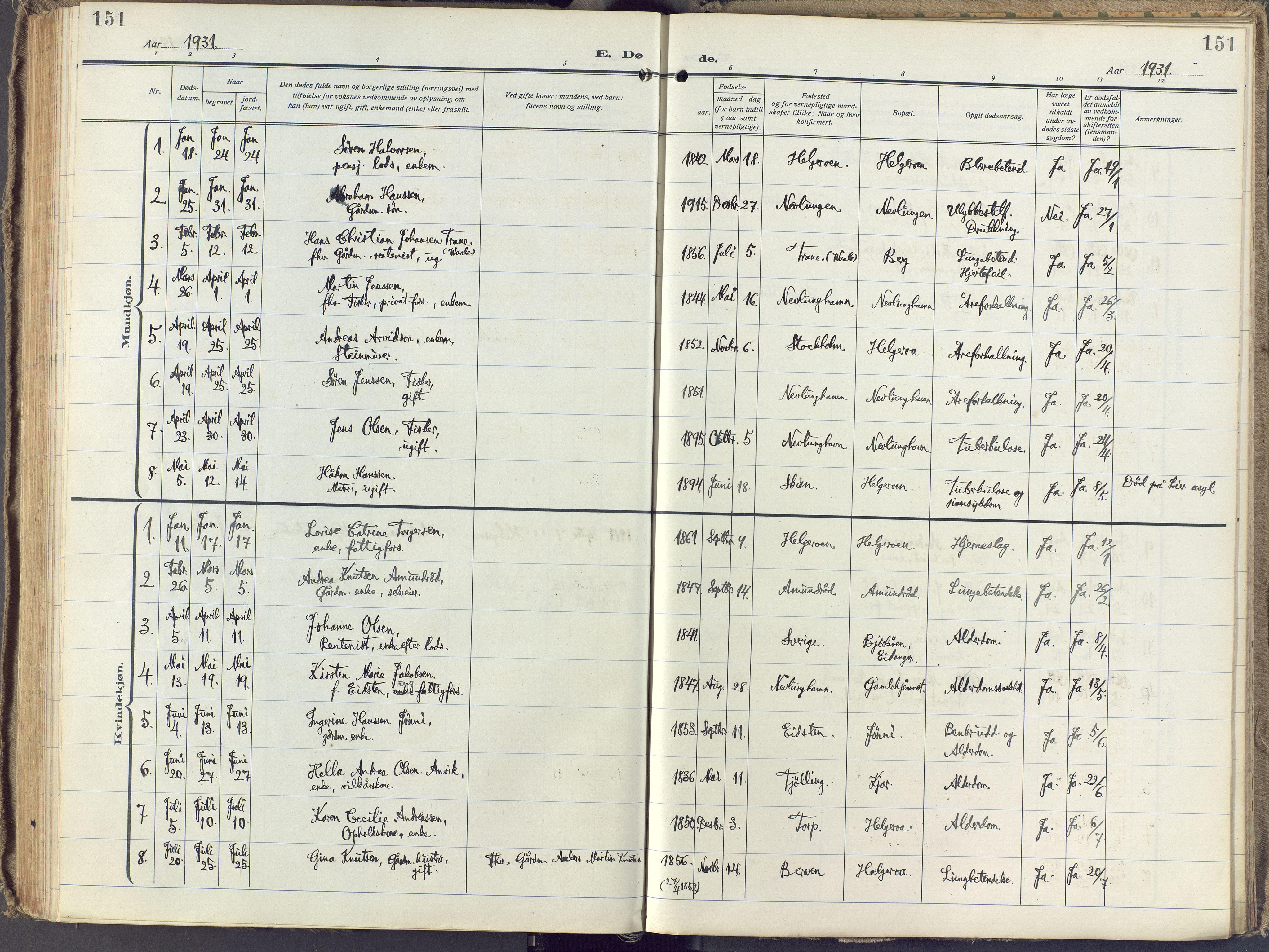 SAKO, Brunlanes kirkebøker, F/Fb/L0004: Ministerialbok nr. II 4, 1923-1940, s. 151