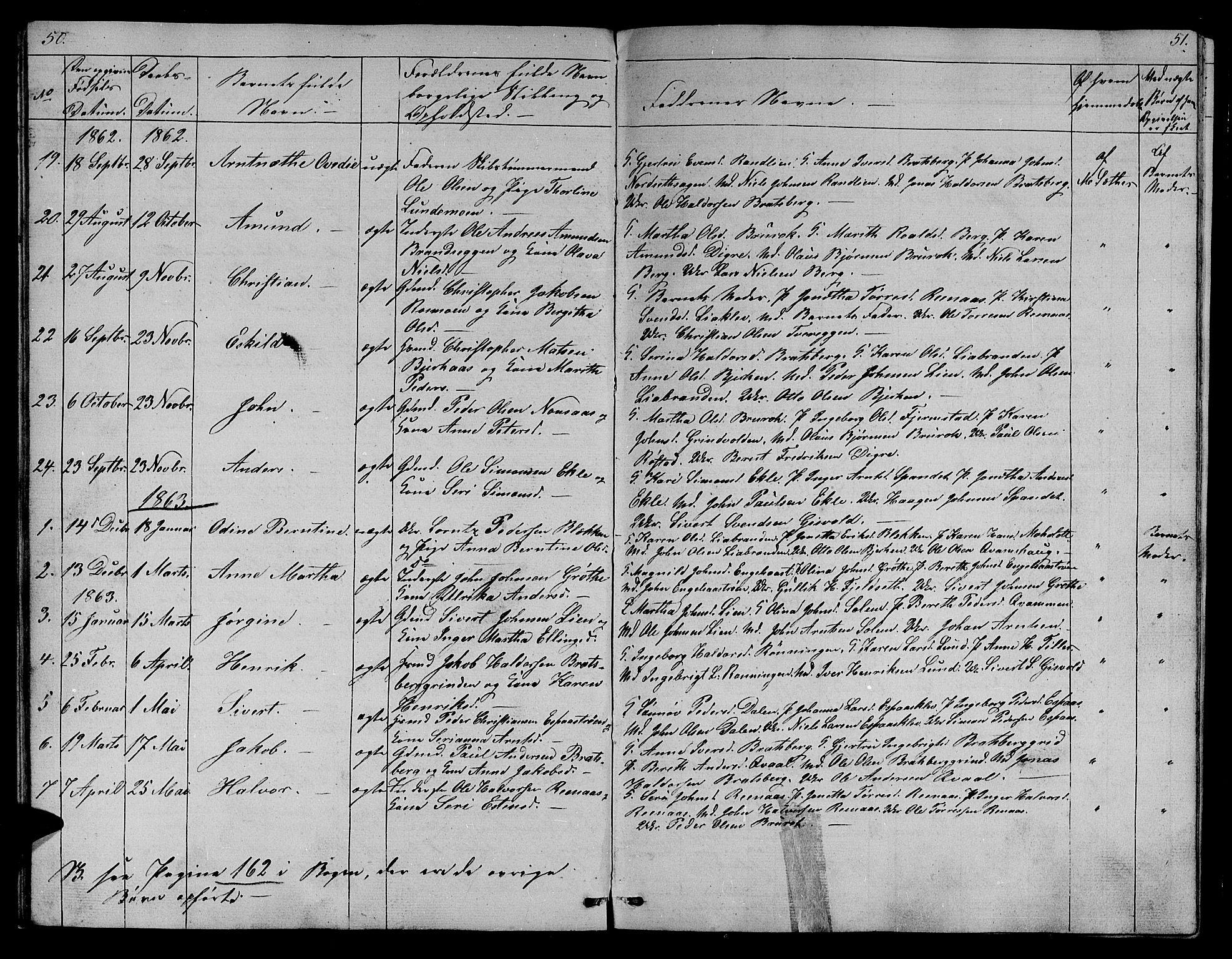 SAT, Ministerialprotokoller, klokkerbøker og fødselsregistre - Sør-Trøndelag, 608/L0339: Klokkerbok nr. 608C05, 1844-1863, s. 50-51