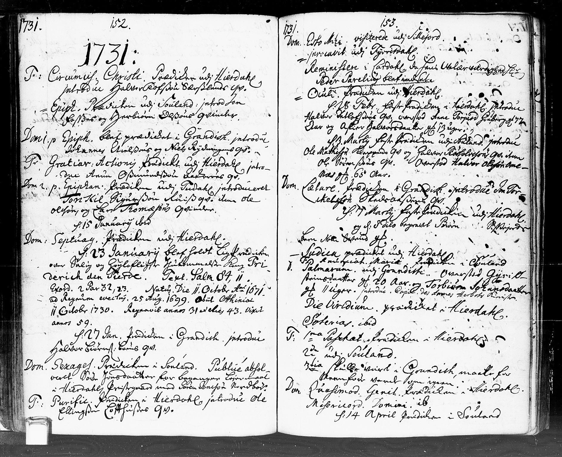 SAKO, Hjartdal kirkebøker, F/Fa/L0002: Ministerialbok nr. I 2, 1716-1754, s. 152-153