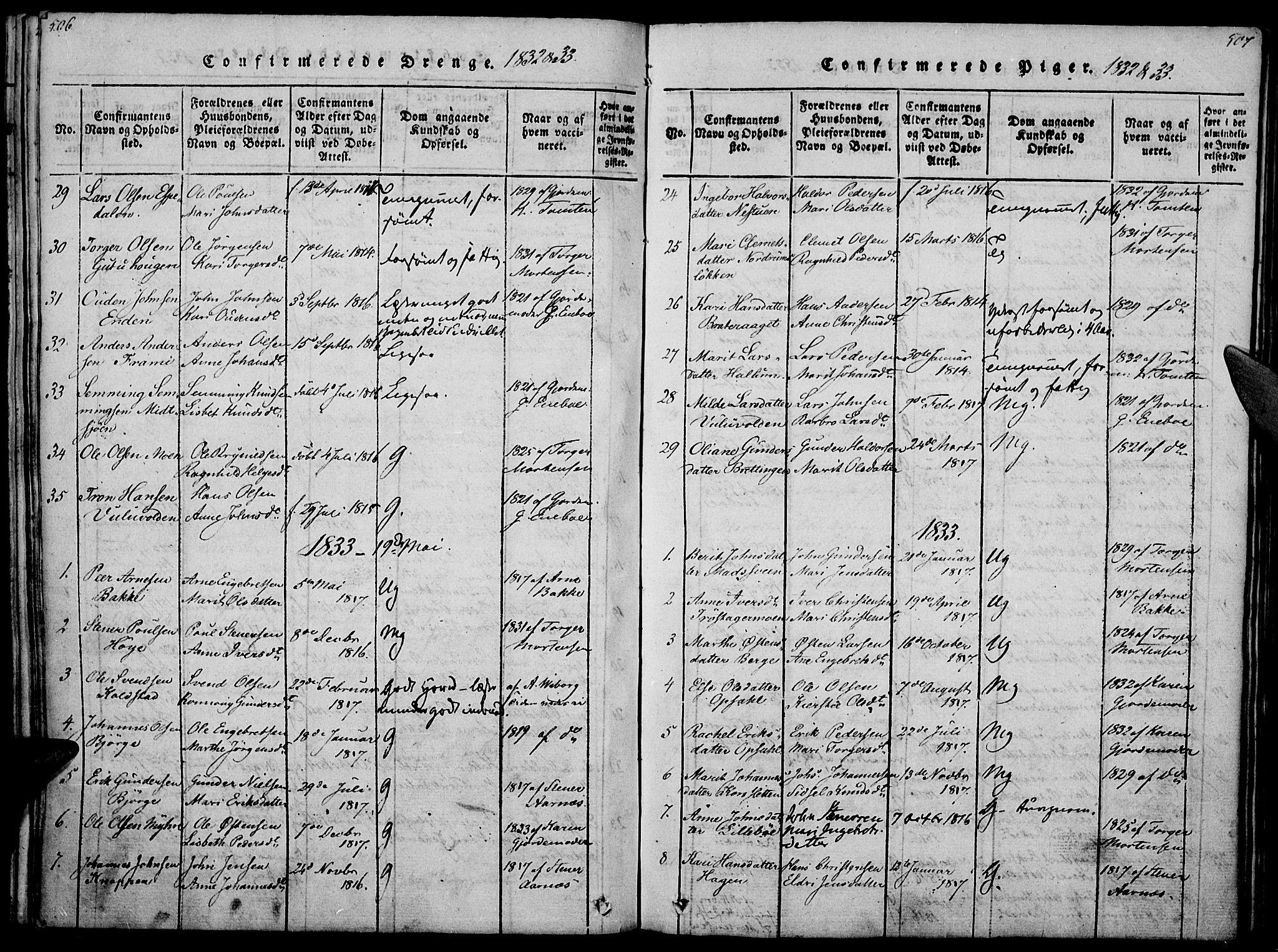 SAH, Ringebu prestekontor, Ministerialbok nr. 4, 1821-1839, s. 506-507