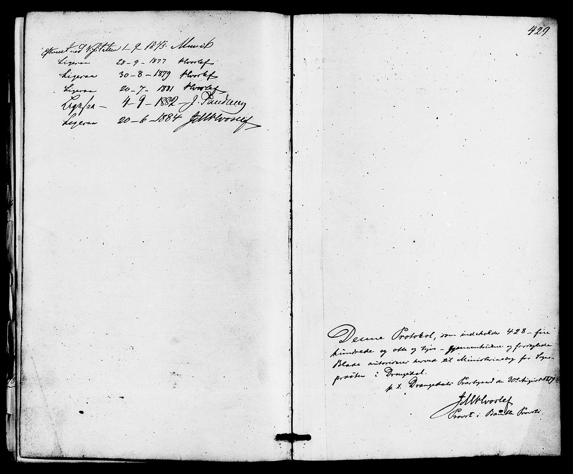 SAKO, Drangedal kirkebøker, F/Fa/L0009: Ministerialbok nr. 9 /1, 1872-1884, s. 429