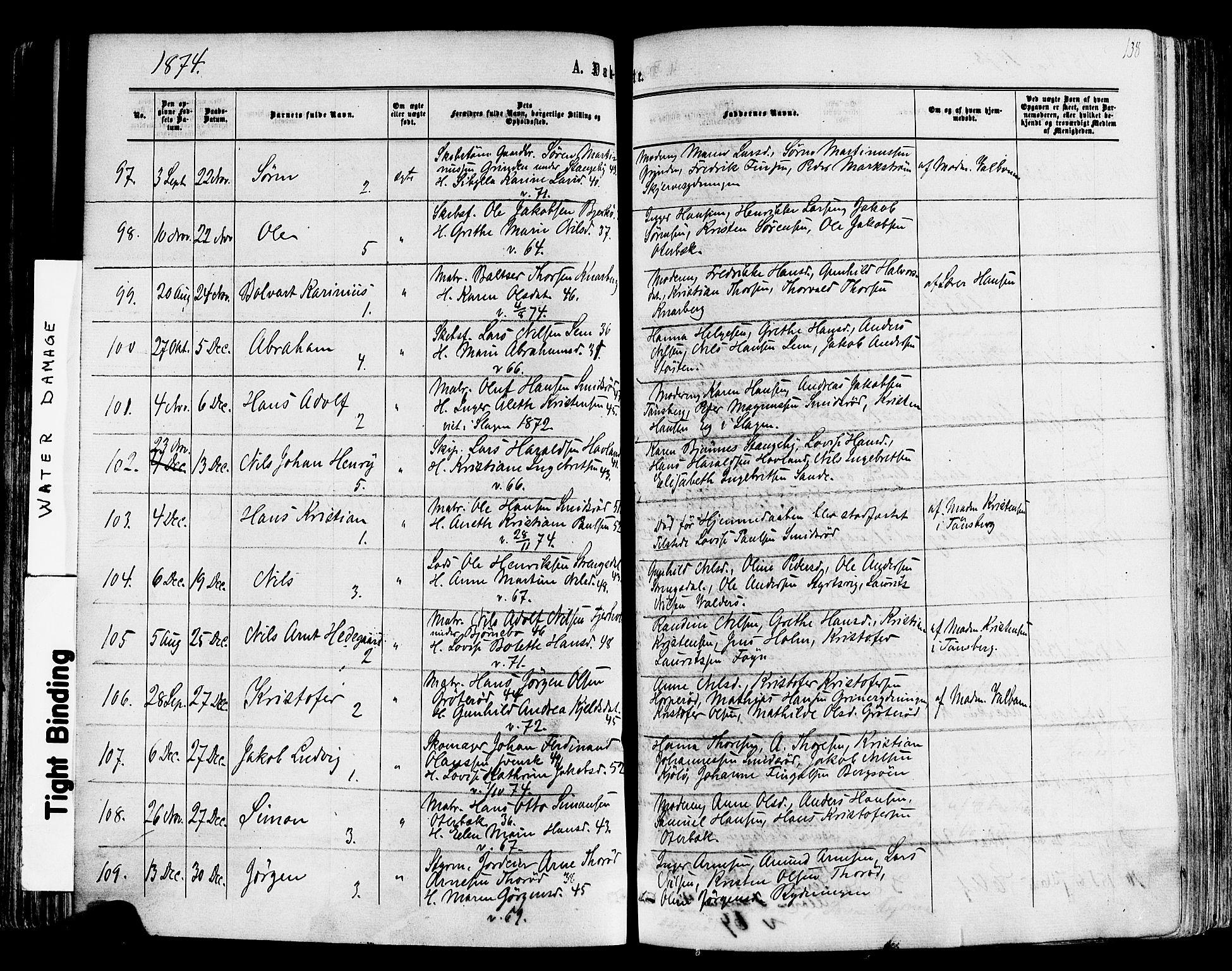 SAKO, Nøtterøy kirkebøker, F/Fa/L0007: Ministerialbok nr. I 7, 1865-1877, s. 138