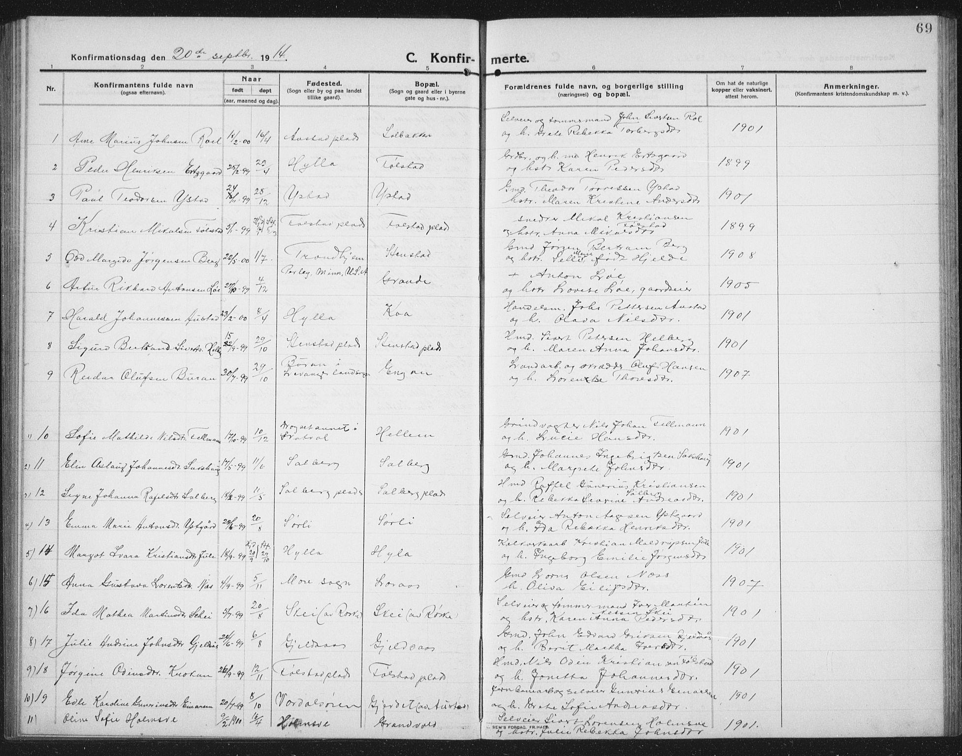 SAT, Ministerialprotokoller, klokkerbøker og fødselsregistre - Nord-Trøndelag, 731/L0312: Klokkerbok nr. 731C03, 1911-1935, s. 69