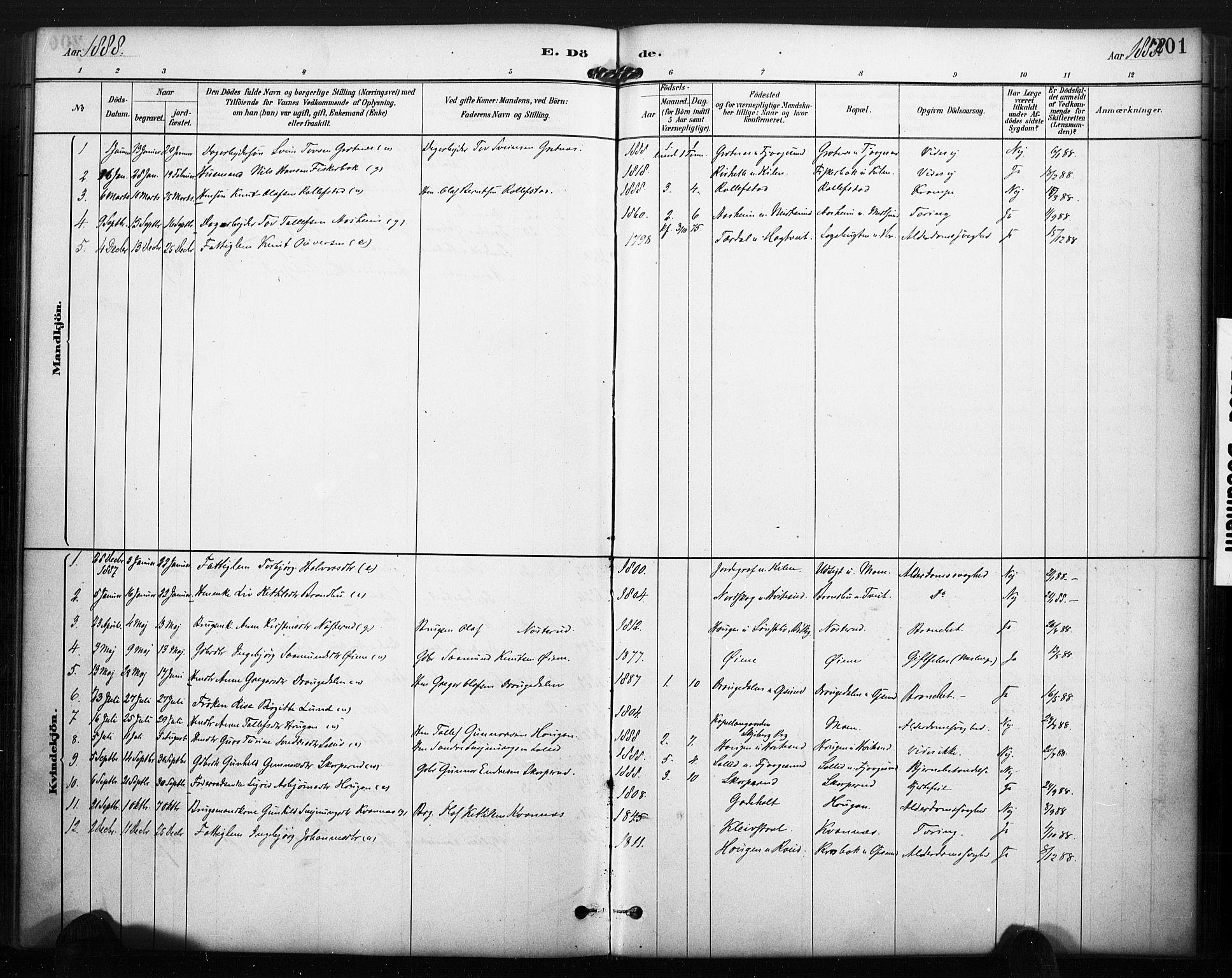 SAKO, Kviteseid kirkebøker, F/Fa/L0008: Ministerialbok nr. I 8, 1882-1903, s. 201