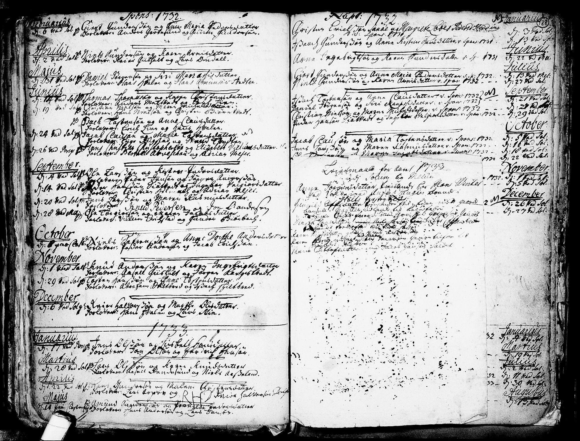 SAKO, Solum kirkebøker, F/Fa/L0002: Ministerialbok nr. I 2, 1713-1761, s. 188