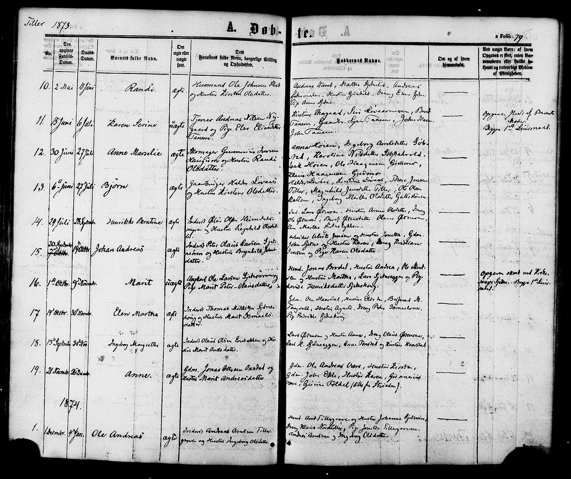 SAT, Ministerialprotokoller, klokkerbøker og fødselsregistre - Sør-Trøndelag, 618/L0443: Ministerialbok nr. 618A06 /2, 1863-1879, s. 79
