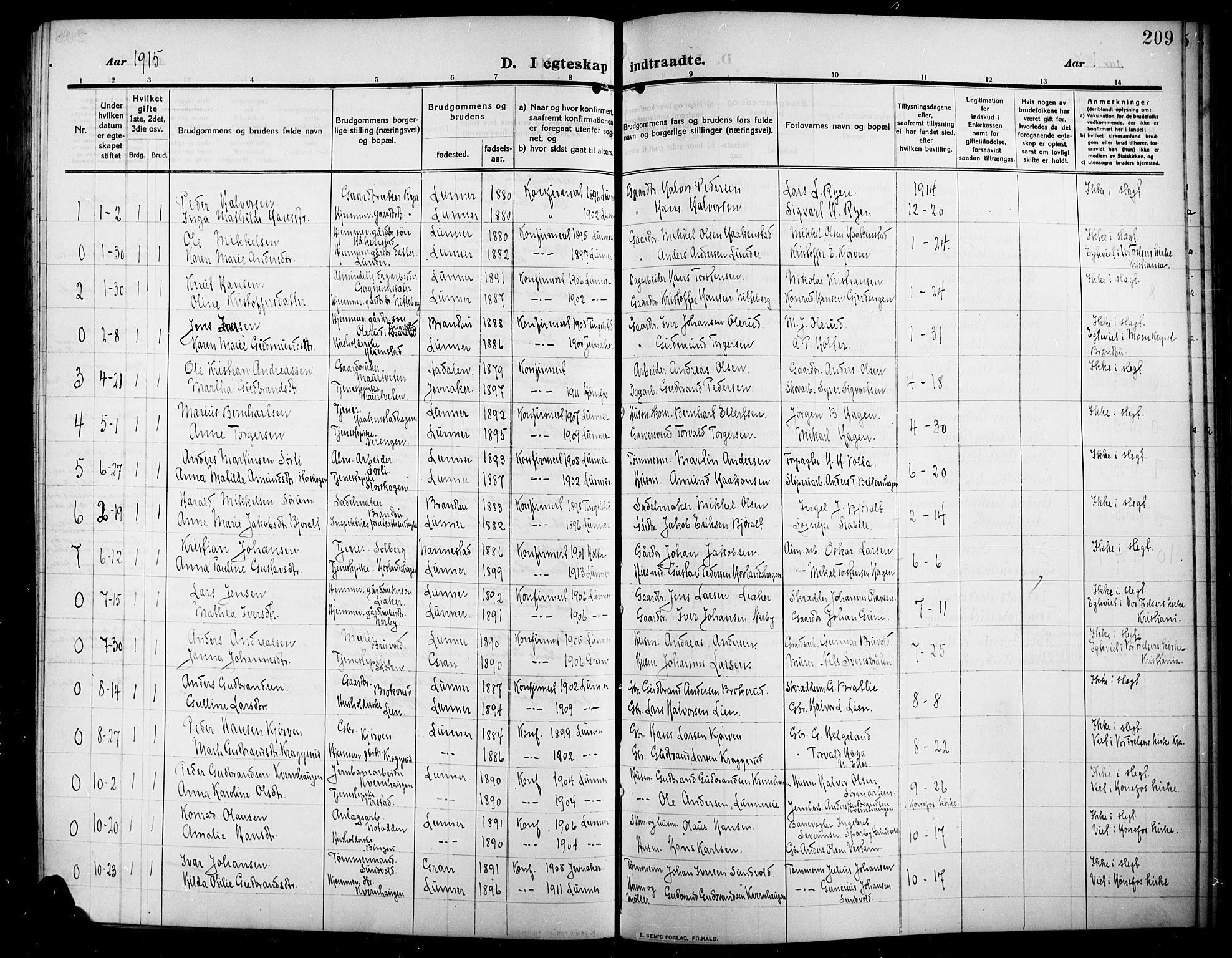 SAH, Lunner prestekontor, H/Ha/Hab/L0001: Klokkerbok nr. 1, 1909-1922, s. 209