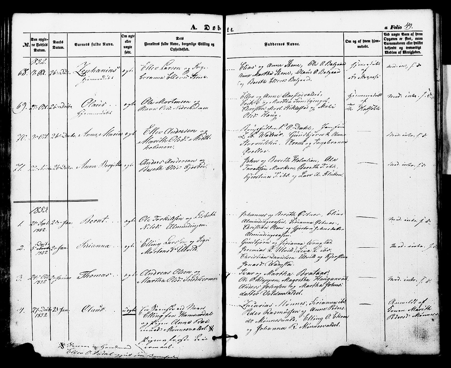 SAT, Ministerialprotokoller, klokkerbøker og fødselsregistre - Nord-Trøndelag, 724/L0268: Klokkerbok nr. 724C04, 1846-1878, s. 49