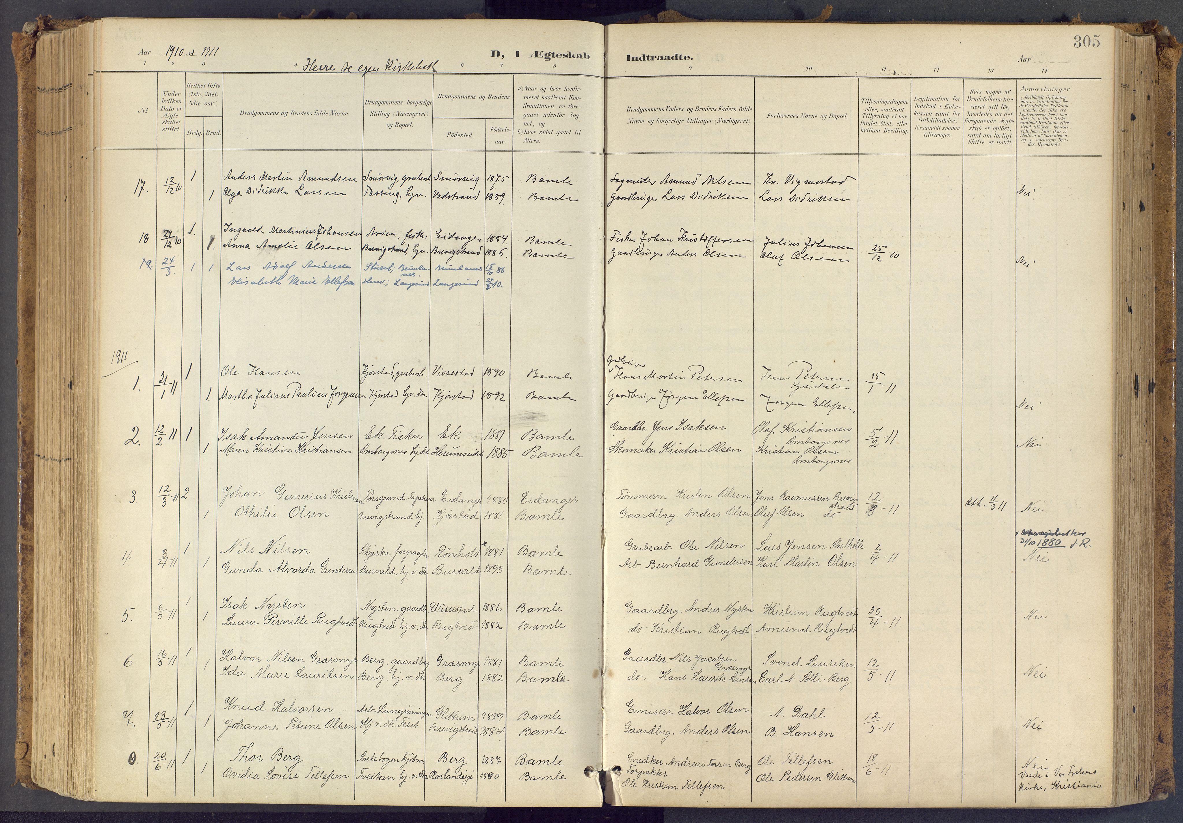 SAKO, Bamble kirkebøker, F/Fa/L0009: Ministerialbok nr. I 9, 1901-1917, s. 305