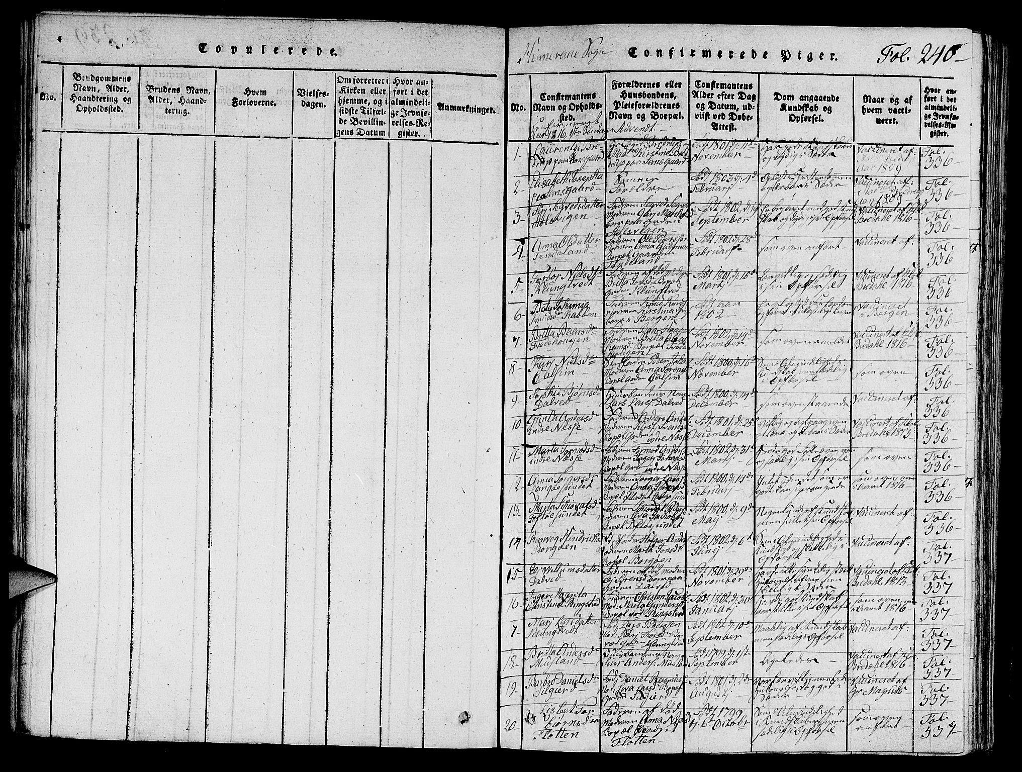 SAST, Nedstrand sokneprestkontor, V: Klokkerbok nr. B 1 /1, 1816-1847, s. 240