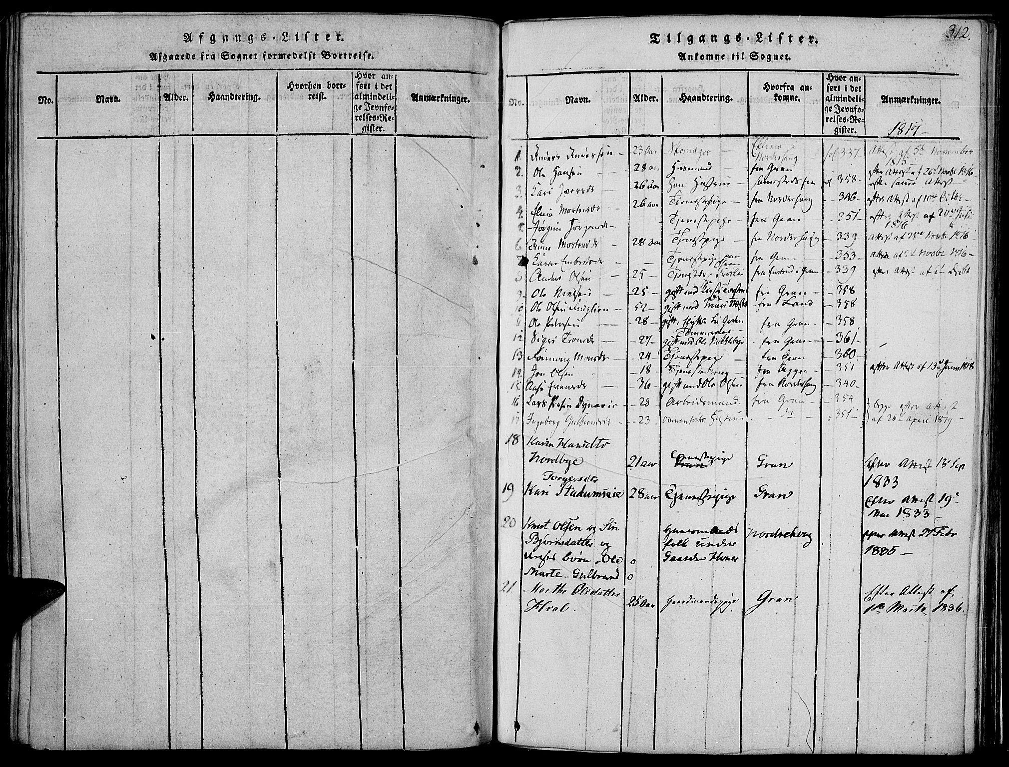 SAH, Jevnaker prestekontor, Ministerialbok nr. 5, 1815-1837, s. 312