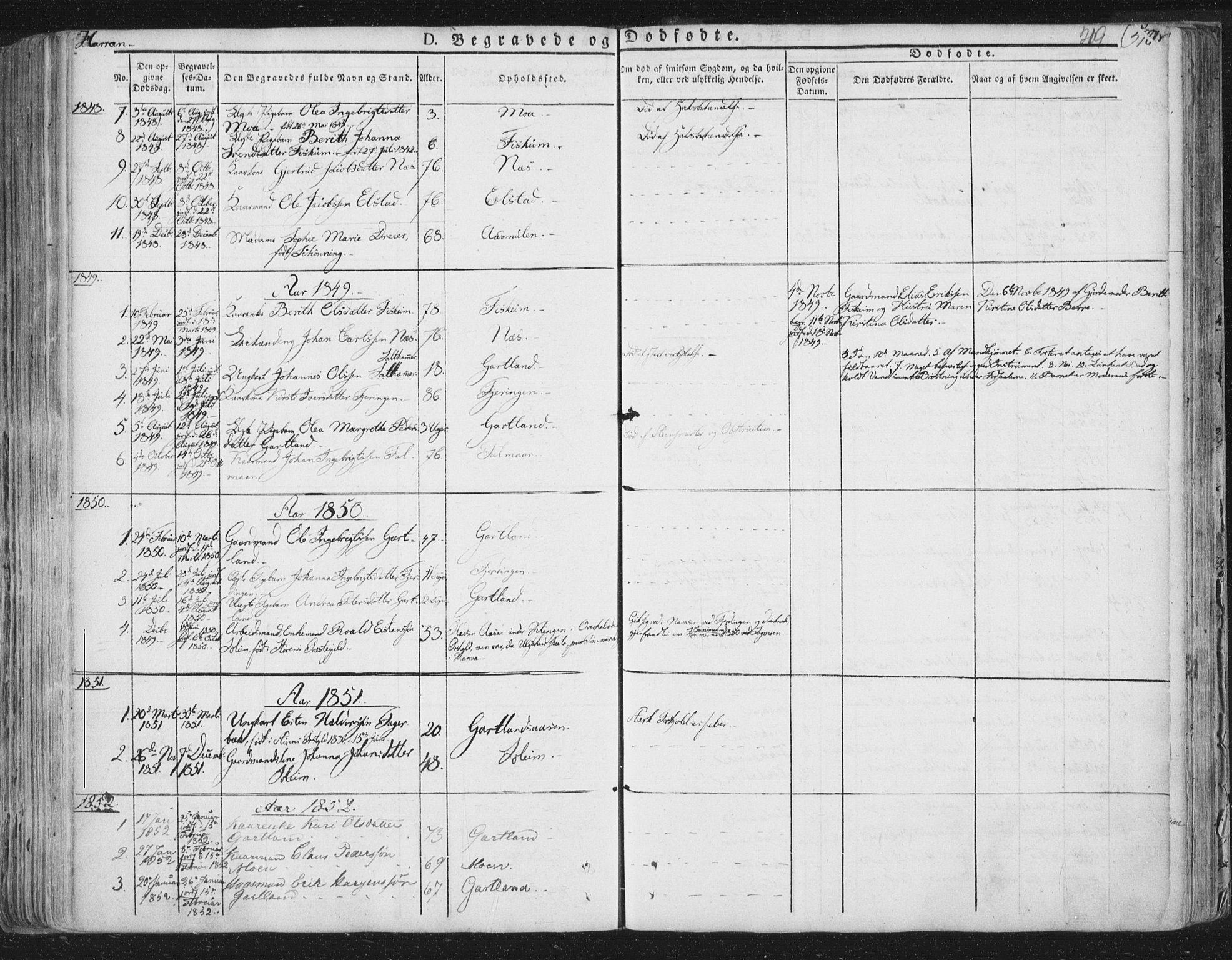 SAT, Ministerialprotokoller, klokkerbøker og fødselsregistre - Nord-Trøndelag, 758/L0513: Ministerialbok nr. 758A02 /3, 1839-1868, s. 219