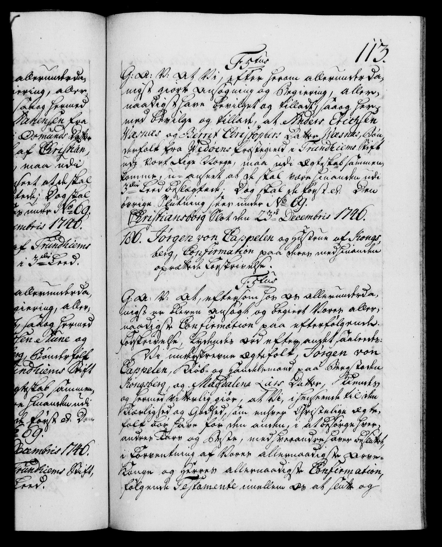 RA, Danske Kanselli 1572-1799, F/Fc/Fca/Fcaa/L0035: Norske registre, 1746-1748, s. 113a