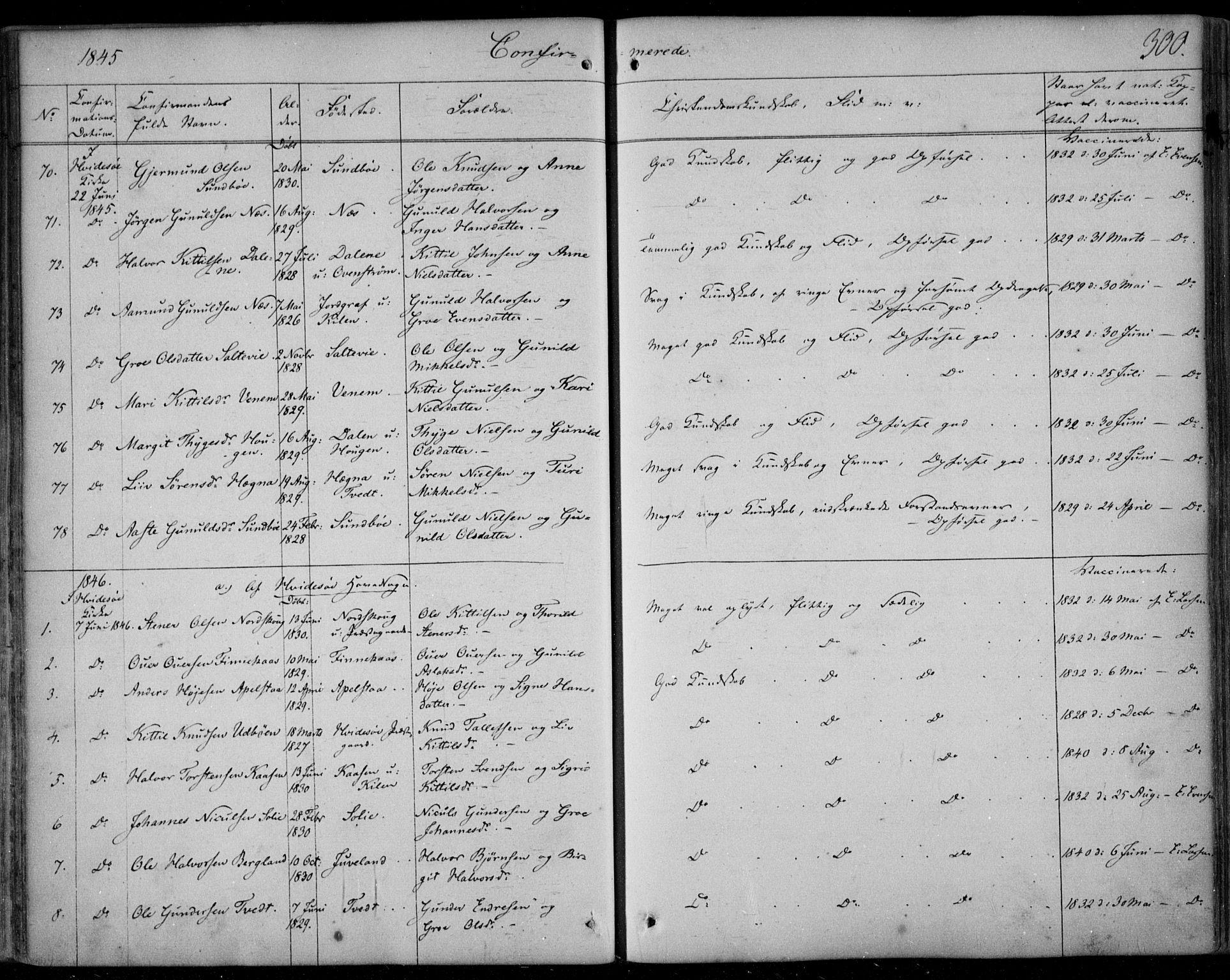 SAKO, Kviteseid kirkebøker, F/Fa/L0006: Ministerialbok nr. I 6, 1836-1858, s. 300