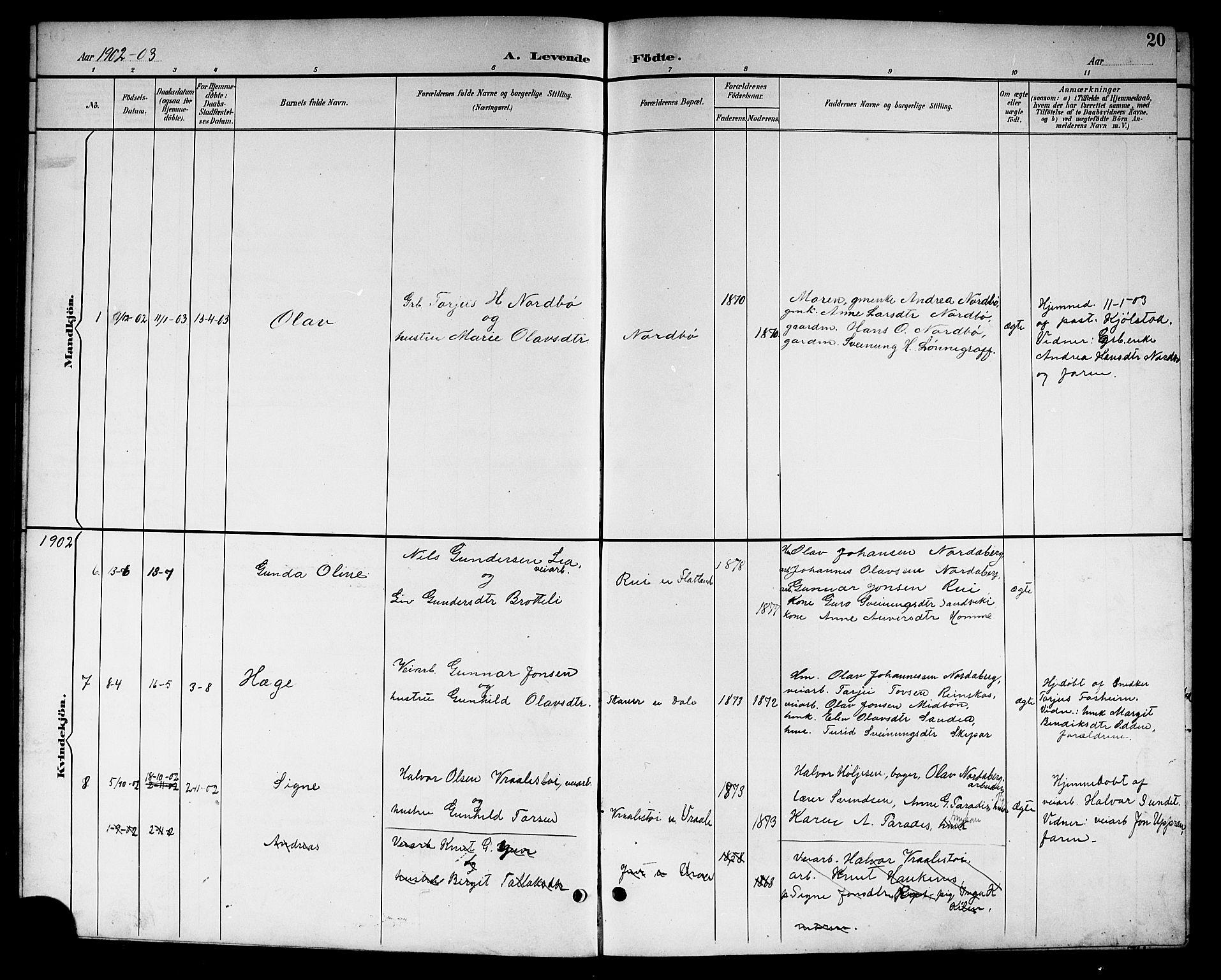 SAKO, Kviteseid kirkebøker, G/Gc/L0001: Klokkerbok nr. III 1, 1893-1916, s. 20