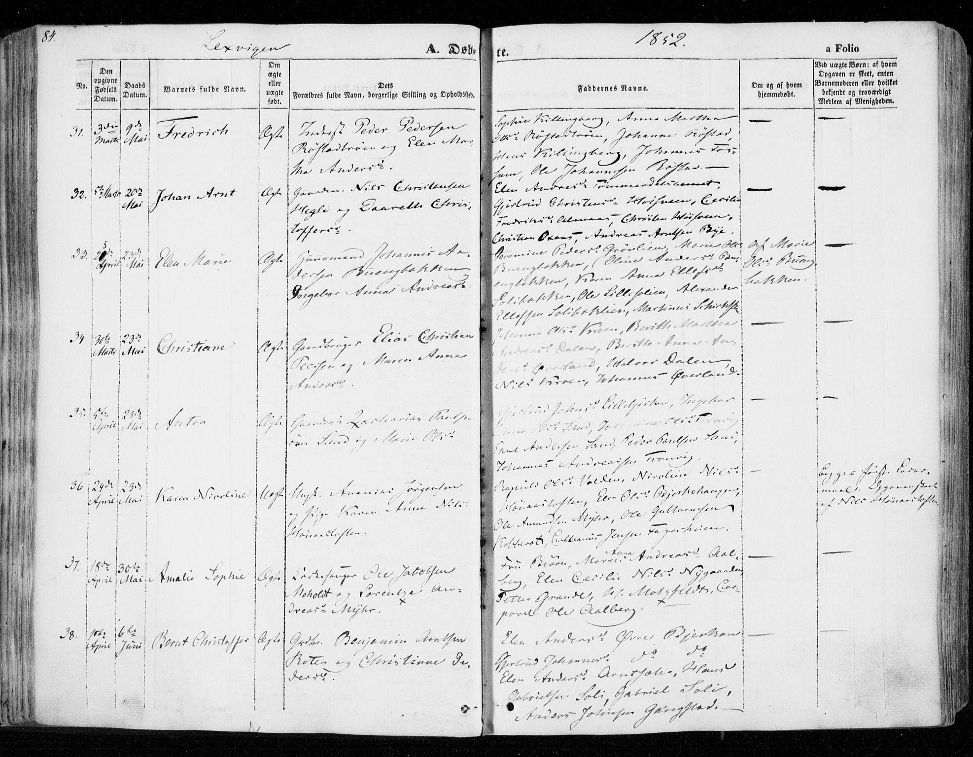 SAT, Ministerialprotokoller, klokkerbøker og fødselsregistre - Nord-Trøndelag, 701/L0007: Ministerialbok nr. 701A07 /1, 1842-1854, s. 84