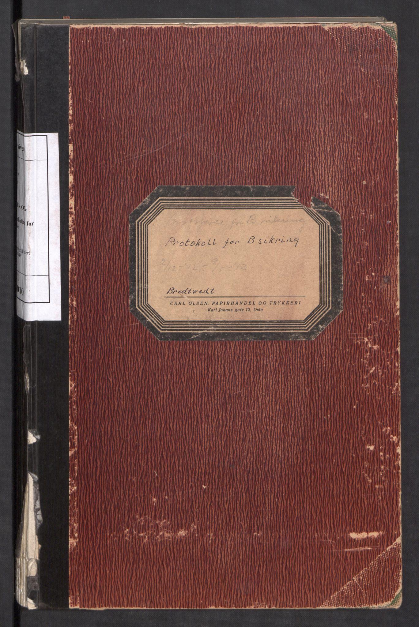 RA, Statspolitiet - Hovedkontoret / Osloavdelingen, C/Cl/L0010: Protokoll for B - sikring (jøder), 1942-1943