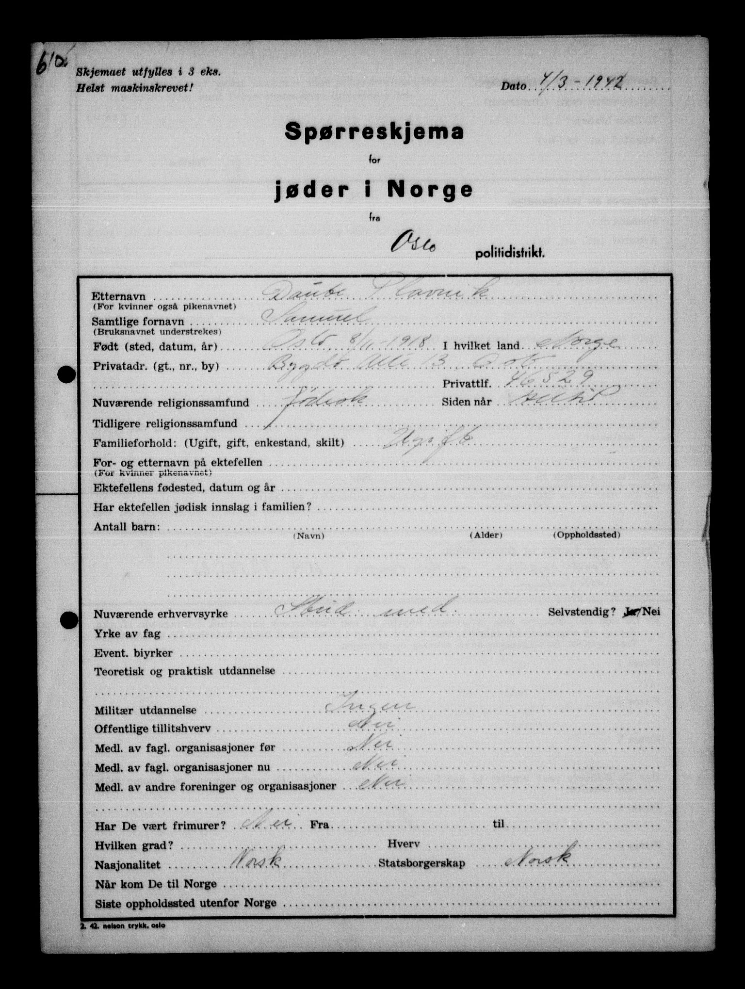 RA, Statspolitiet - Hovedkontoret / Osloavdelingen, G/Ga/L0011: Spørreskjema for jøder i Norge, Oslo Plavnik-Zwillinger, og Aker Adler-Lewin, 1942, s. 1