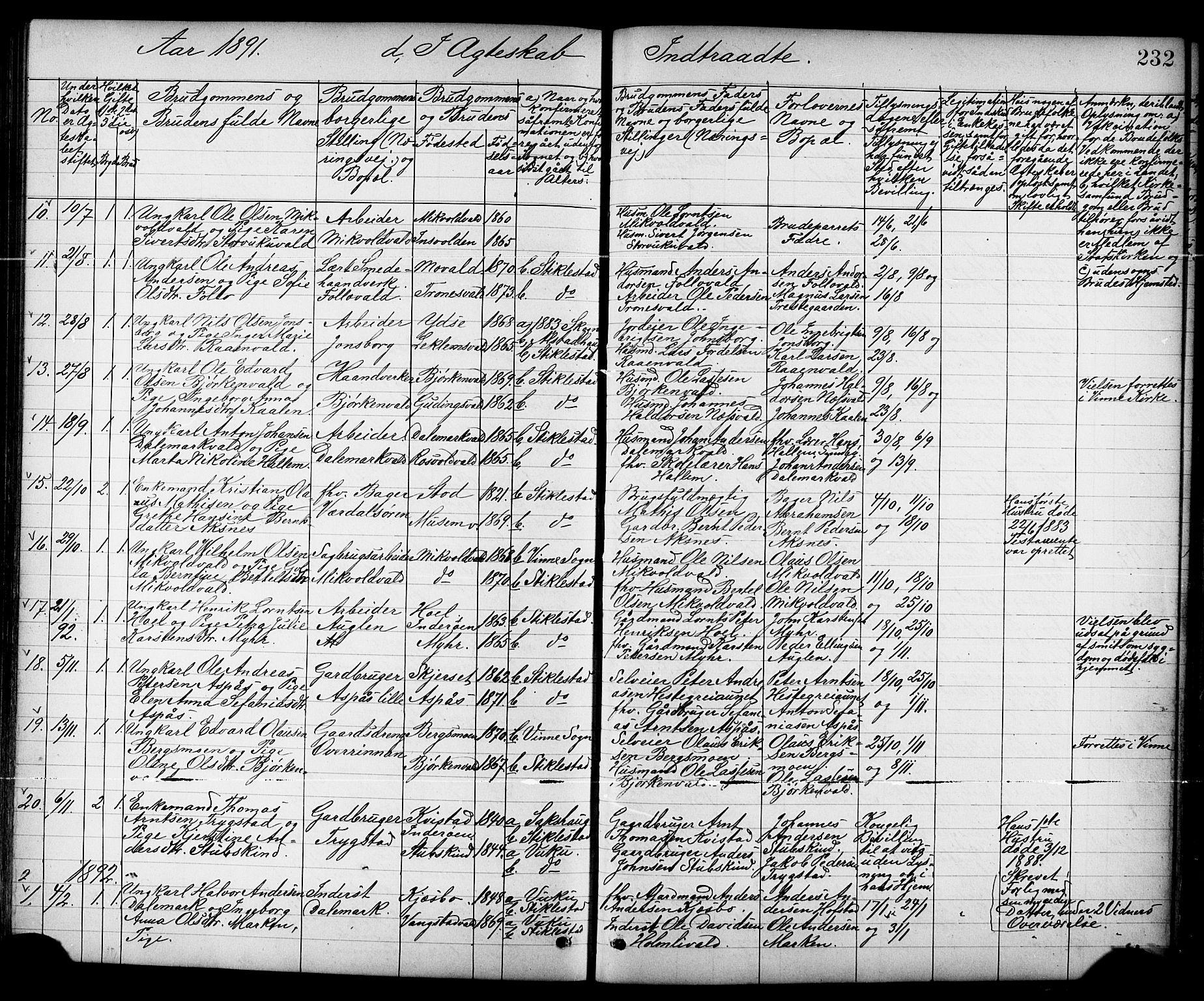 SAT, Ministerialprotokoller, klokkerbøker og fødselsregistre - Nord-Trøndelag, 723/L0257: Klokkerbok nr. 723C05, 1890-1907, s. 232