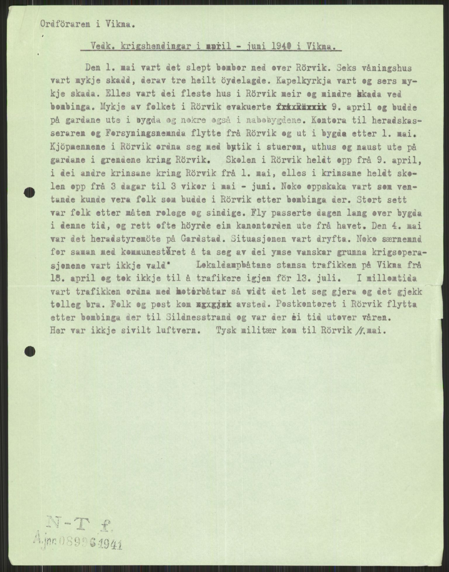 RA, Forsvaret, Forsvarets krigshistoriske avdeling, Y/Ya/L0016: II-C-11-31 - Fylkesmenn.  Rapporter om krigsbegivenhetene 1940., 1940, s. 605