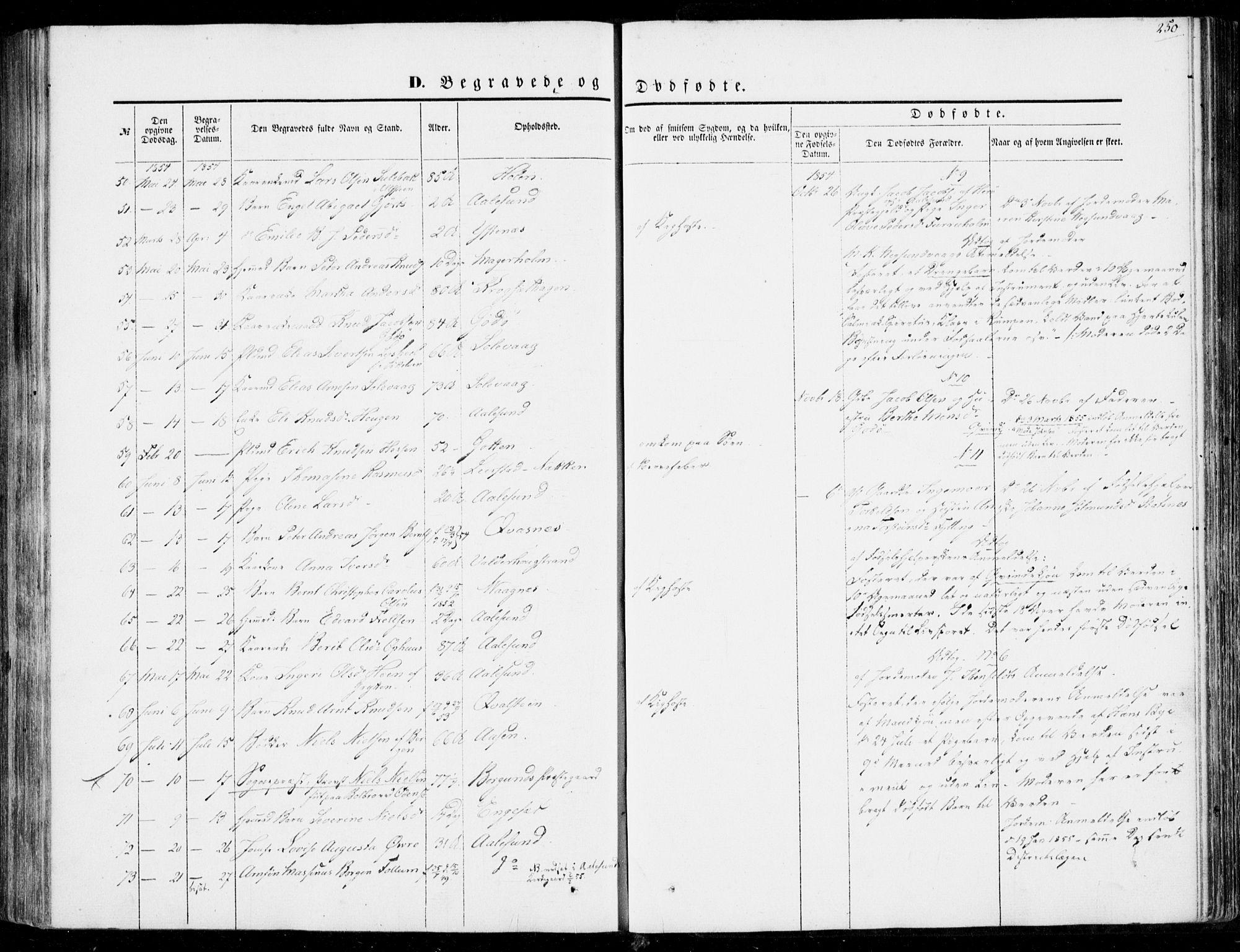 SAT, Ministerialprotokoller, klokkerbøker og fødselsregistre - Møre og Romsdal, 528/L0397: Ministerialbok nr. 528A08, 1848-1858, s. 250